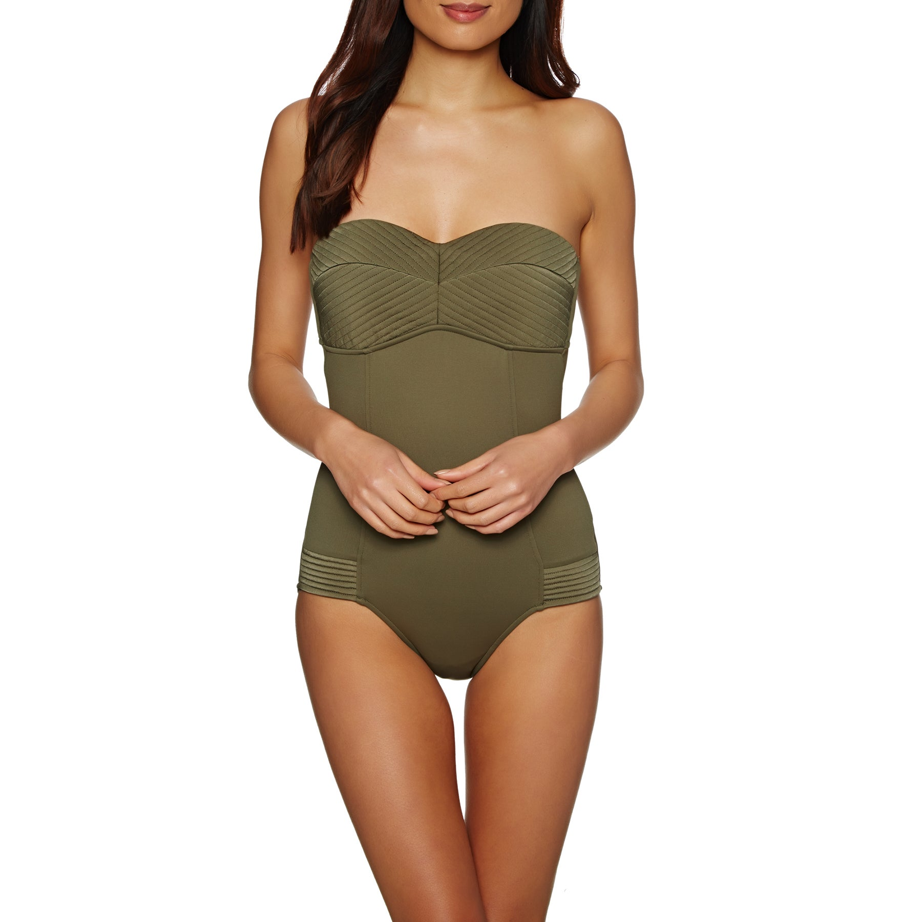 Seafolly Quilted Bandeau Maillot Womens 水着 - Dark Olive
