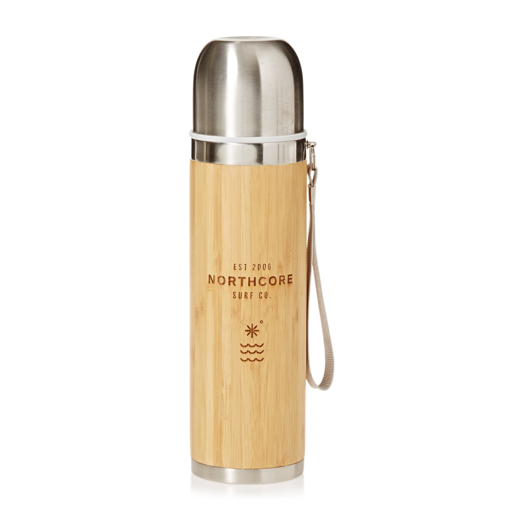 Gourde Northcore Adventure Bamboo Stainless Steel 360ml with Mug - Silver