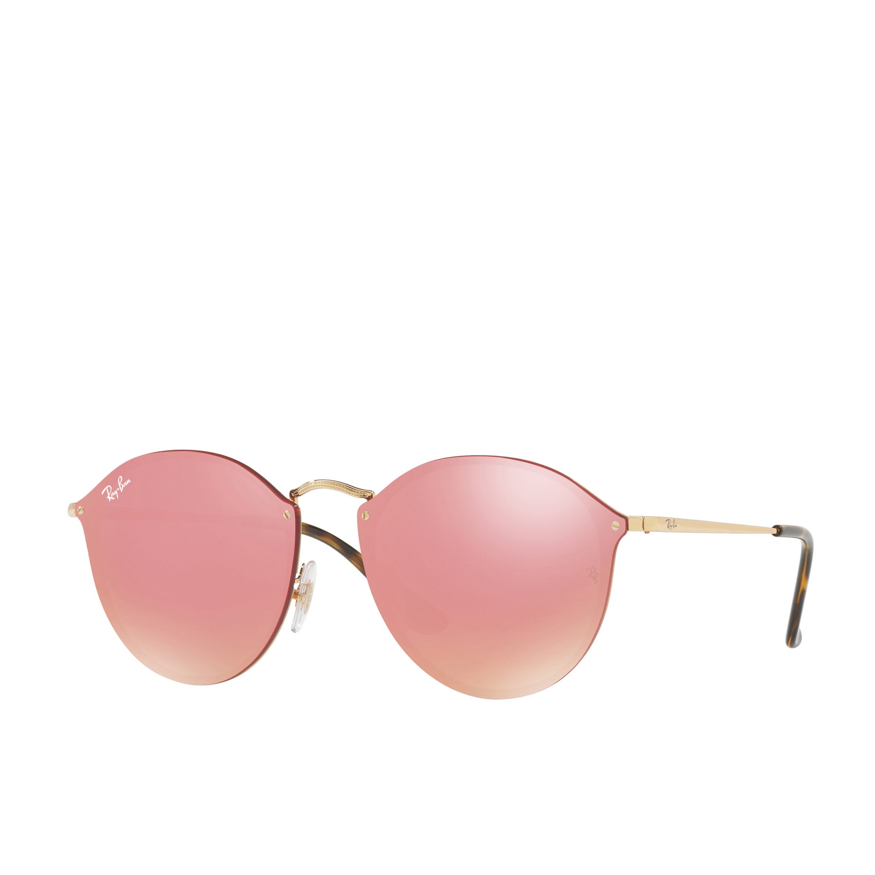 Ray-Ban Blaze Round Womens Sunglasses - Gold Pink Mirror
