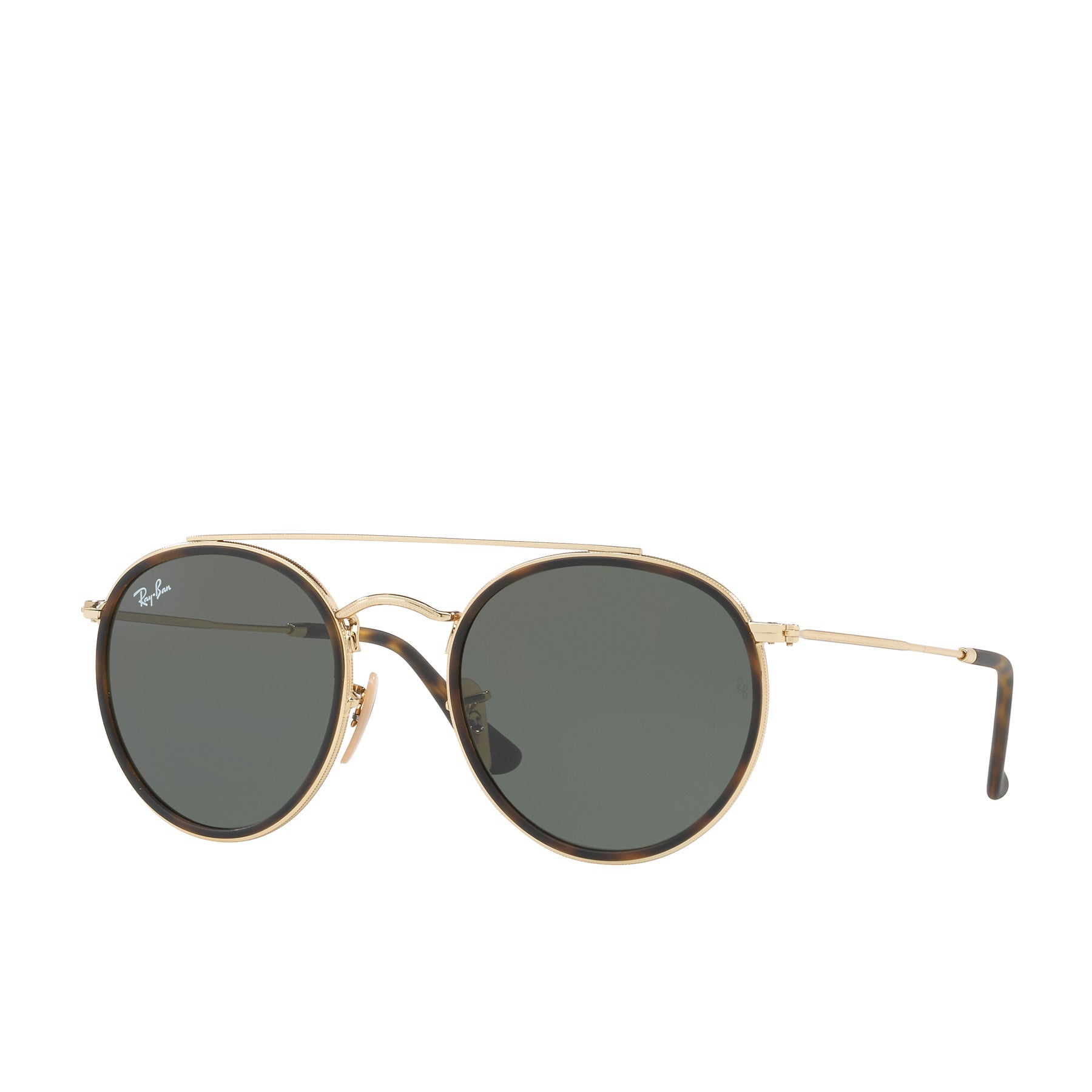 Ray-Ban Round Bridge Womens Sunglasses - Gold Green