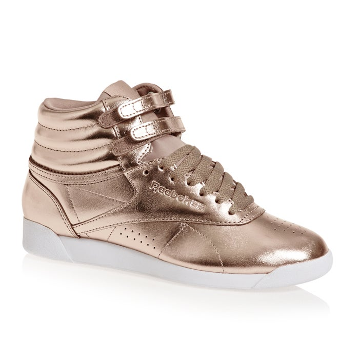 eb390ed82ec Reebok Freestyle Hi Top Metallic Womens Shoes available from Surfdome