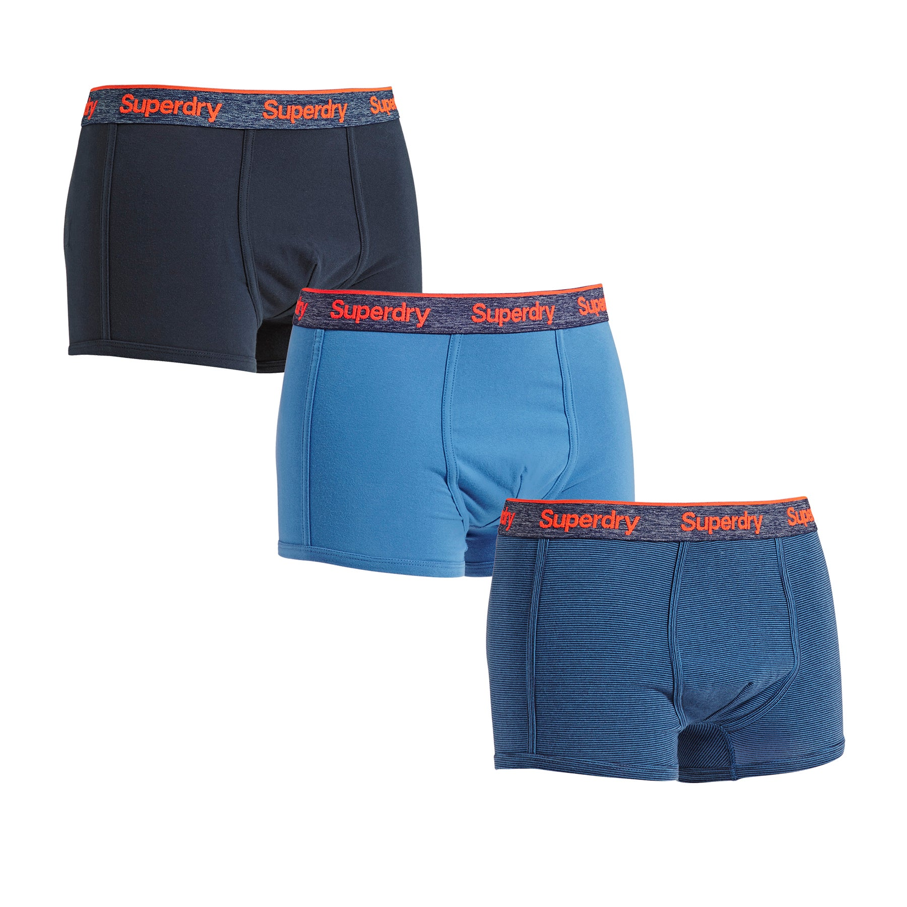Superdry Orange Label Triple Pack Boxer-Shorts - Denim Blue Imperial Navy