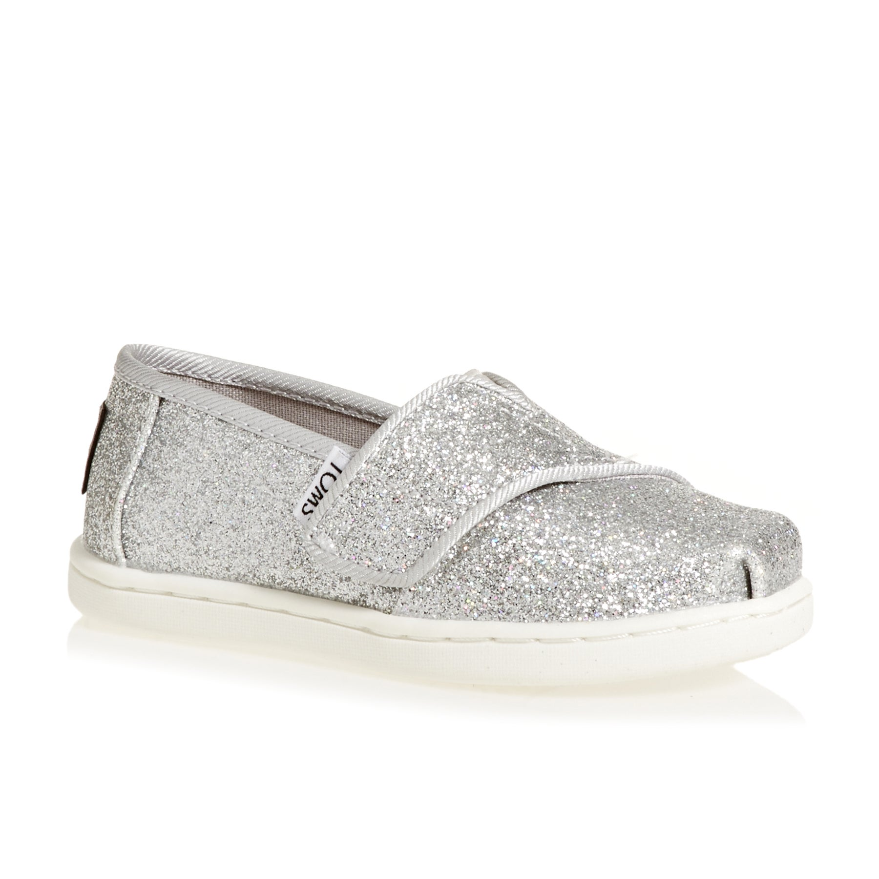 Toms Glimmer Mini Girls Slip On Shoes - Silver