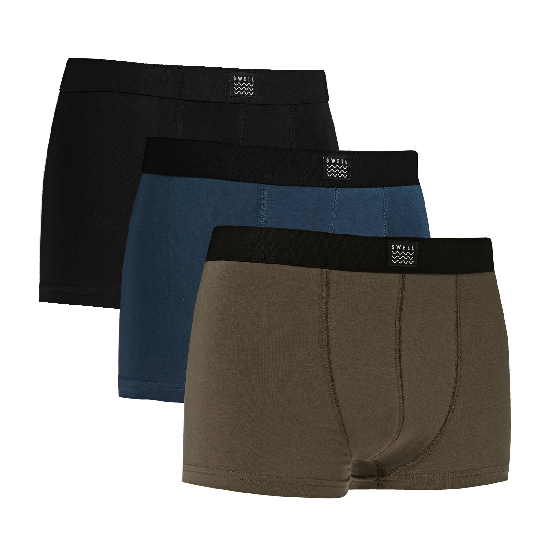 SWELL 3 Pack Boxer Shorts - Black Navy Military
