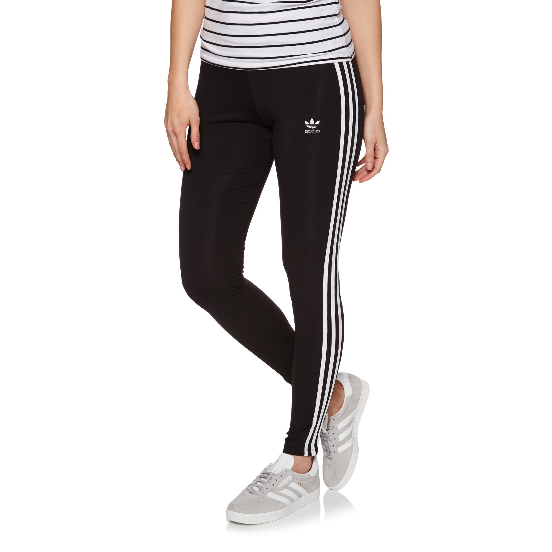 Adidas Originals 3 Stripe Womens Legíny - Black
