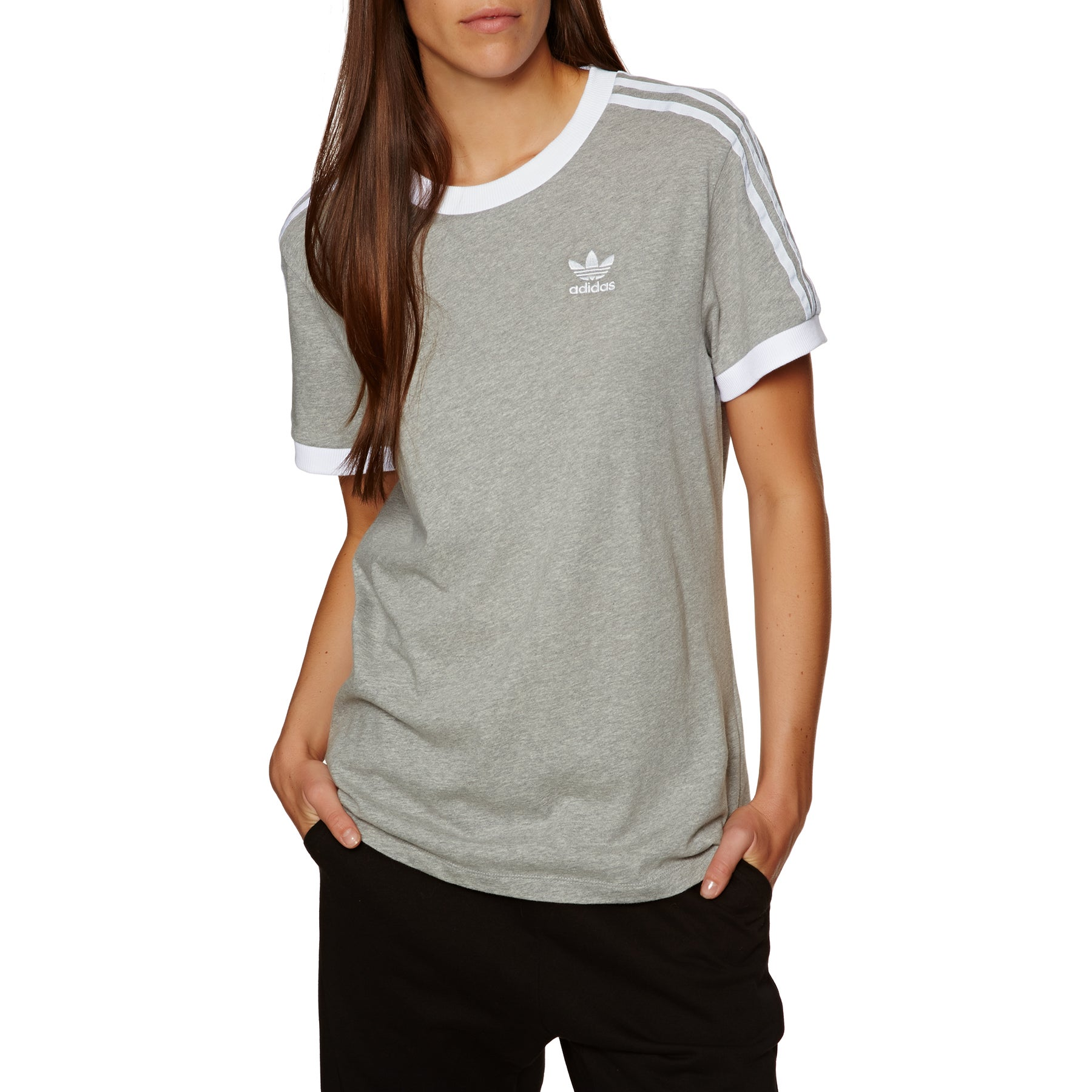 T-Shirt a Manica Corta Donna Adidas Originals 3 Stripe - Medium Grey Heather