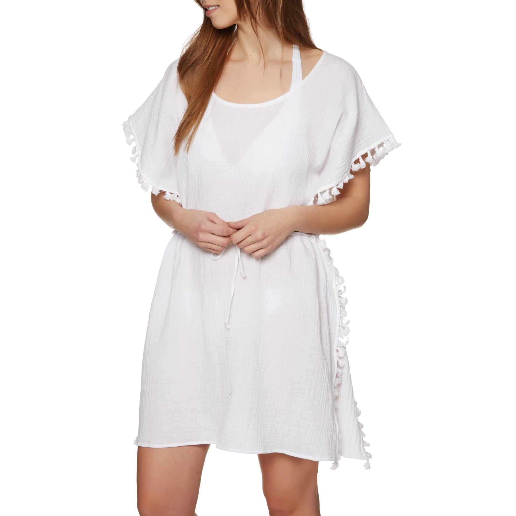 Nine Islands Tassel Overswim Dress - White
