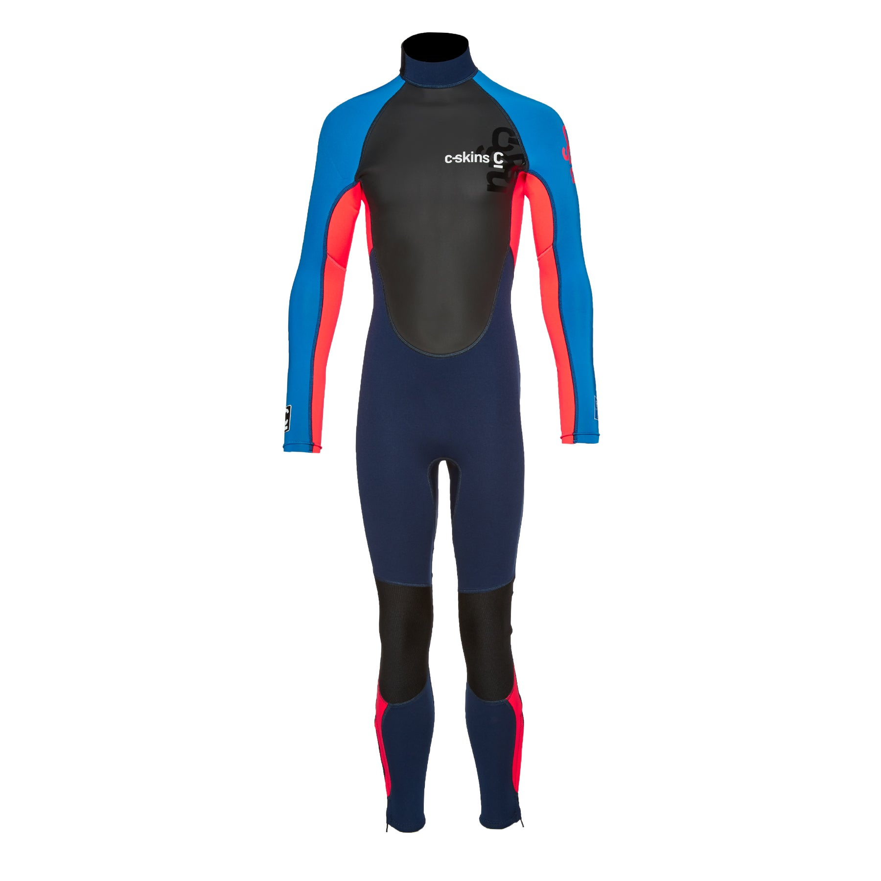 C-Skins Girls Element 3/2mm Back Zip Girls Wetsuit - Navy Flo Red Cyan