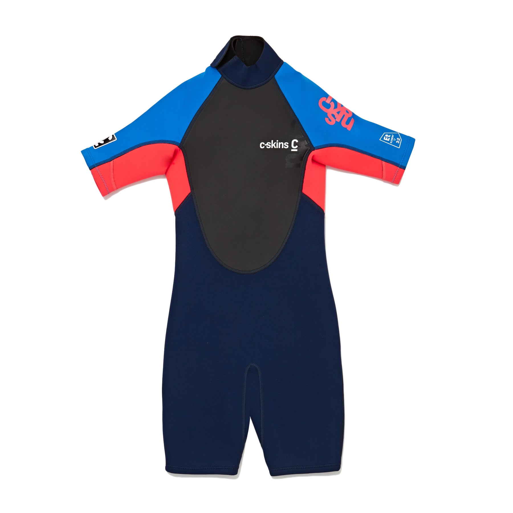 C-Skins Girls Element 3/2mm Back Zip Shorty Girls Wetsuit - Navy Flo Red Cyan