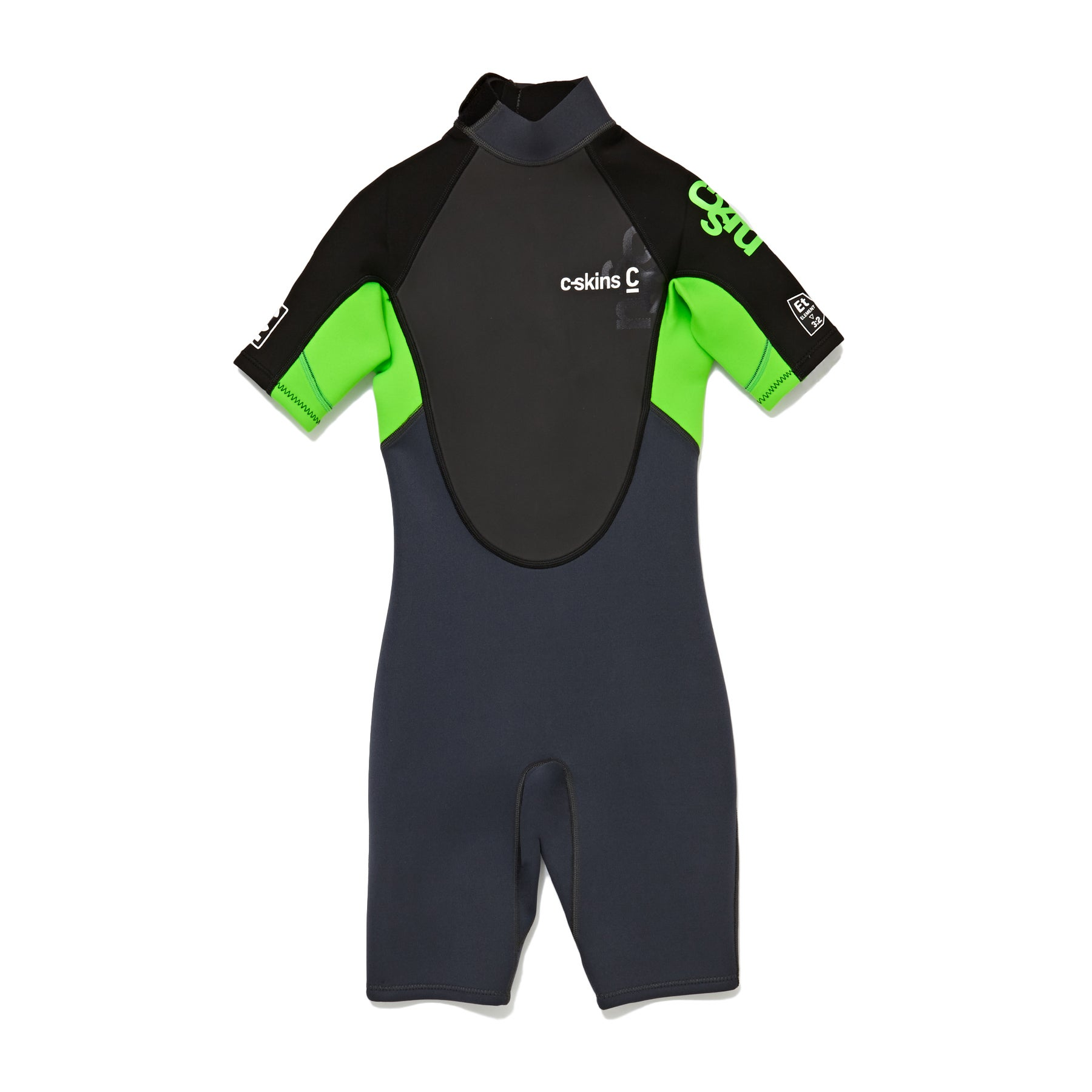 C-Skins Element 3/2mm Back Zip Shorty Wetsuit - Graphite Flo Green Black