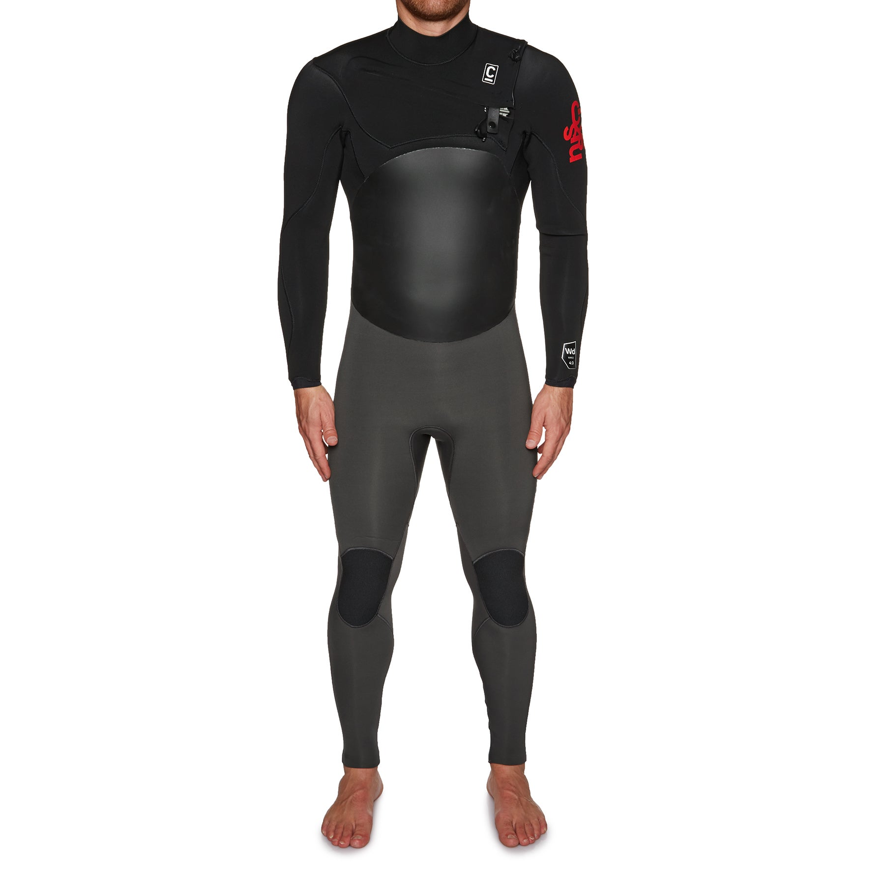 C-Skins Wired 4/3mm Chest Zip Wetsuit - Gunmetal Black Warm Red