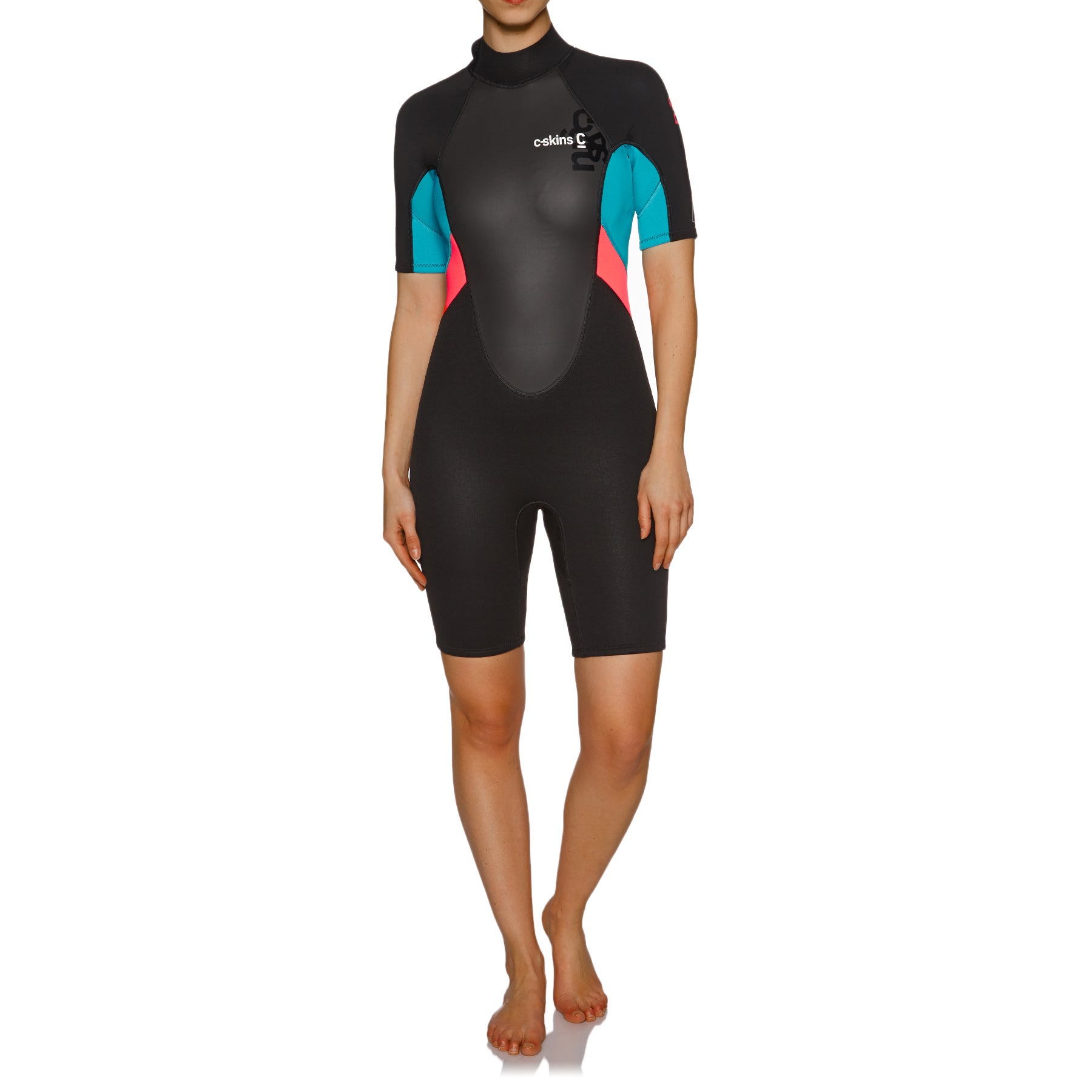 C-Skins Element 3/2mm Back Zip Shorty Wetsuit - Black Coral Aqua