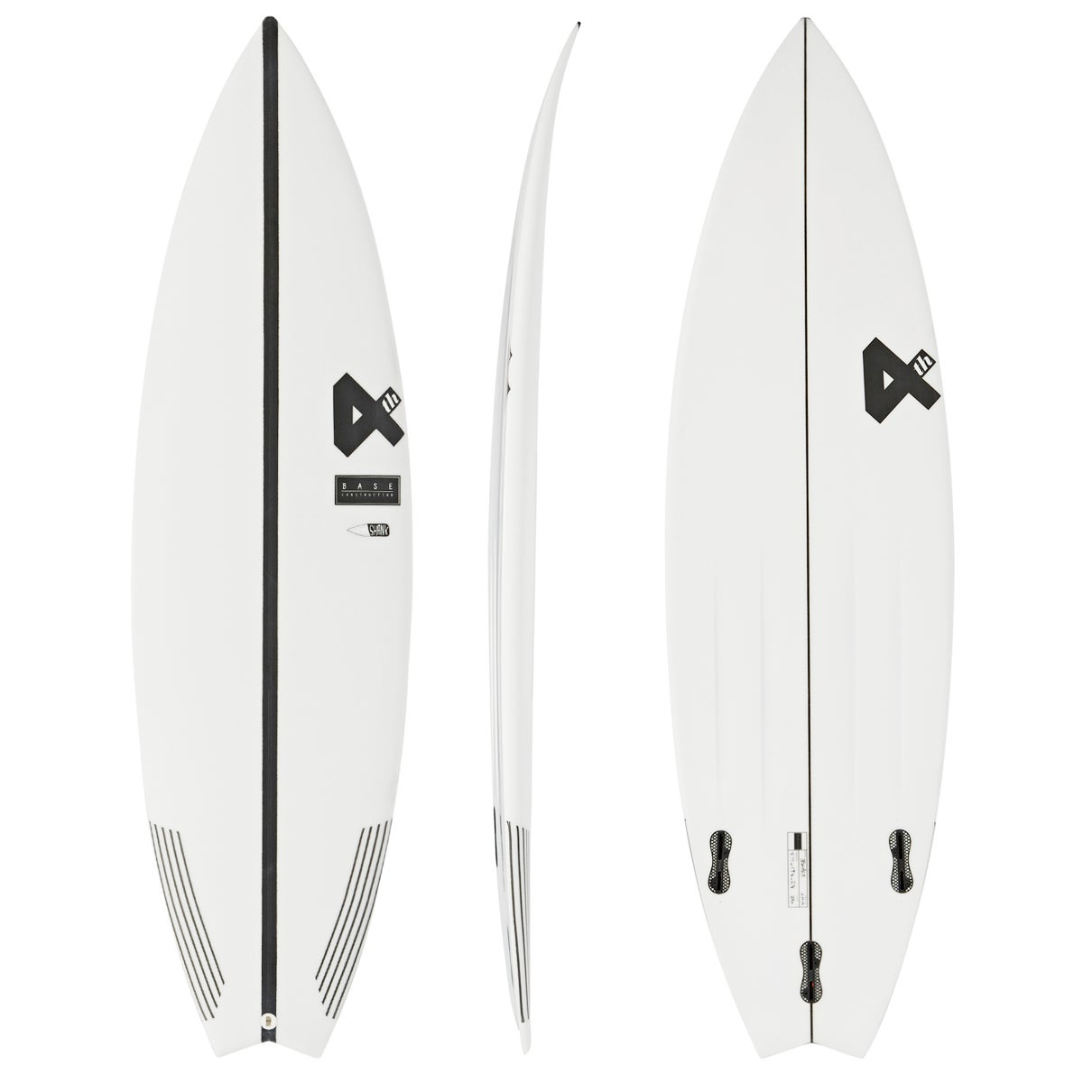 Fourth Surfboards Belly Shank Base Construction FCS II 3 Fin Surfboard - White Black