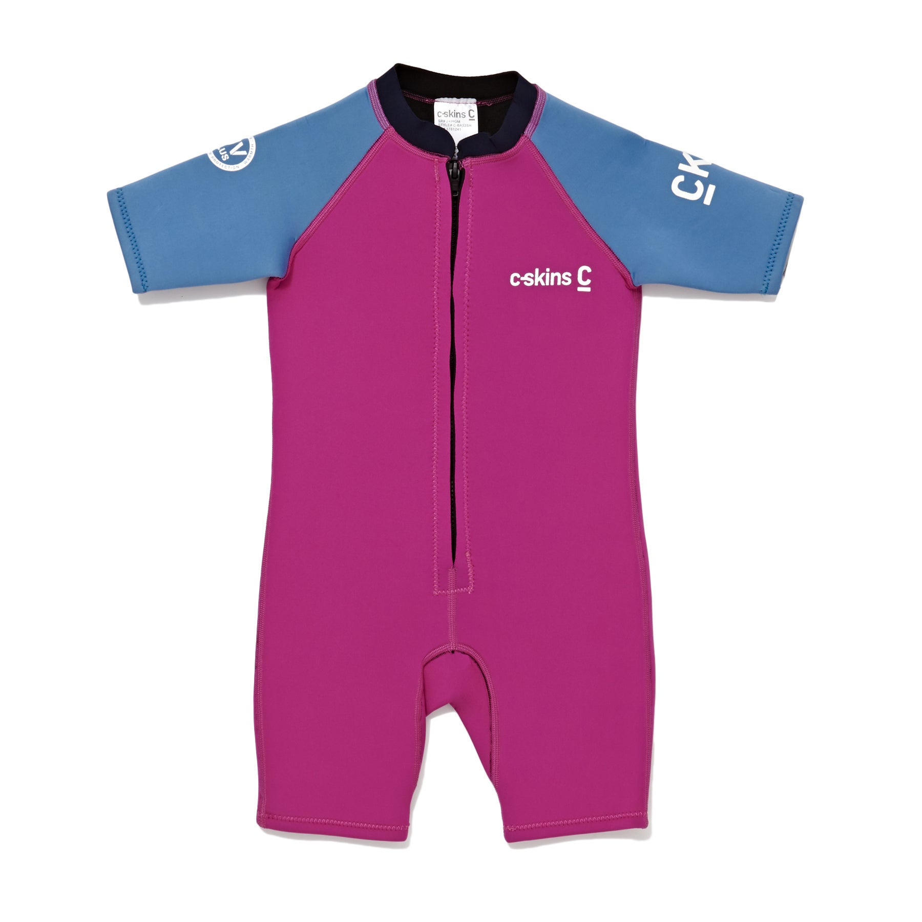 C-Skins C-kid 3/2mm Chest Zip Shorty Girls Wetsuit - Magenta Powder Blue Slate