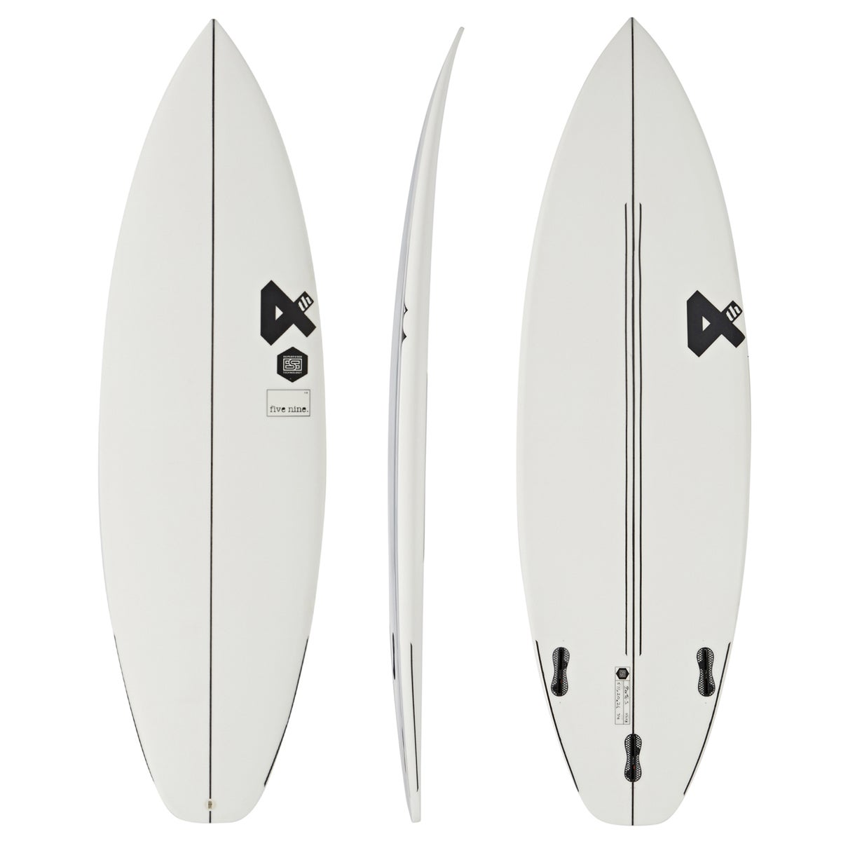 Fourth Surfboards Five Nine ESE Construction FCS II Thruster Surfboard - White Black