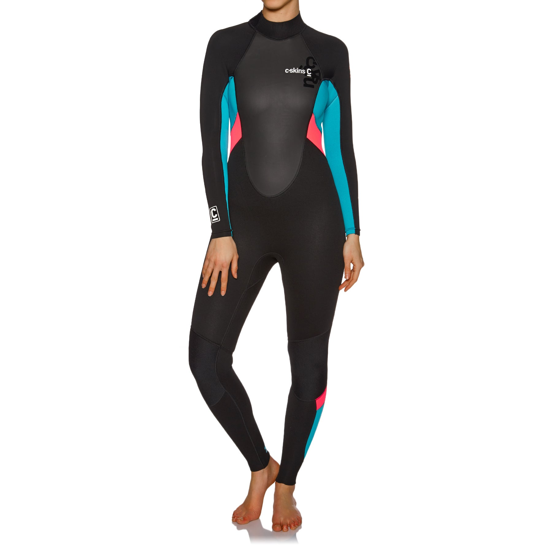 C-Skins Element 3/2mm Back Zip Wetsuit - Black/ Coral/ Aqua