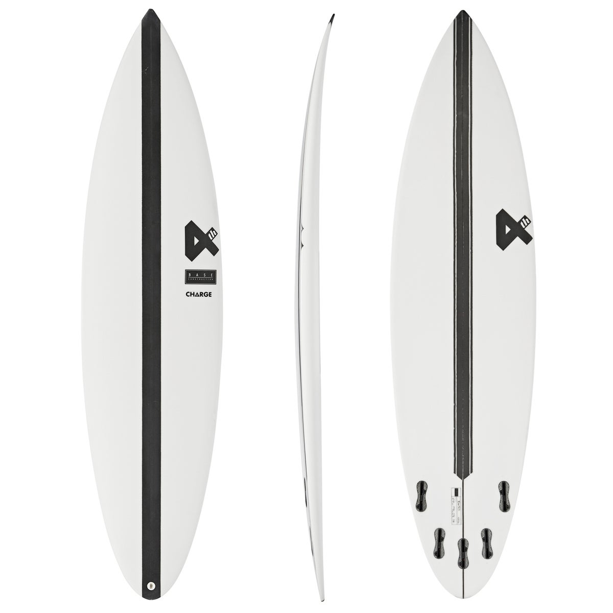 Fourth Surfboards Charge 2.0 Base Construction FCS II 5 Fin , Surfboard - White/ Black
