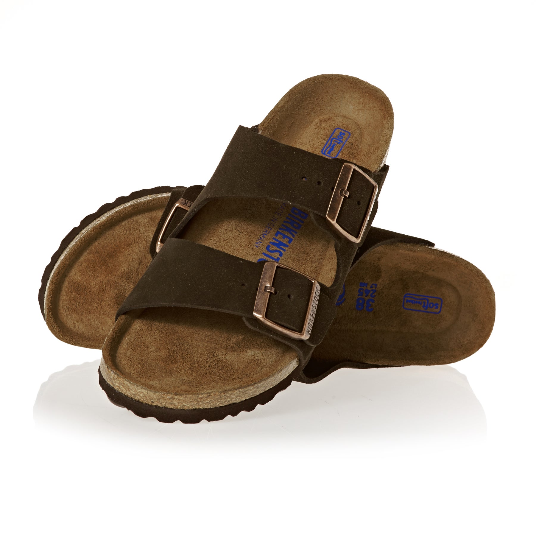 Birkenstock Arizona Suede Leather Soft Footbed Narrow Womens Sandals - Mocca