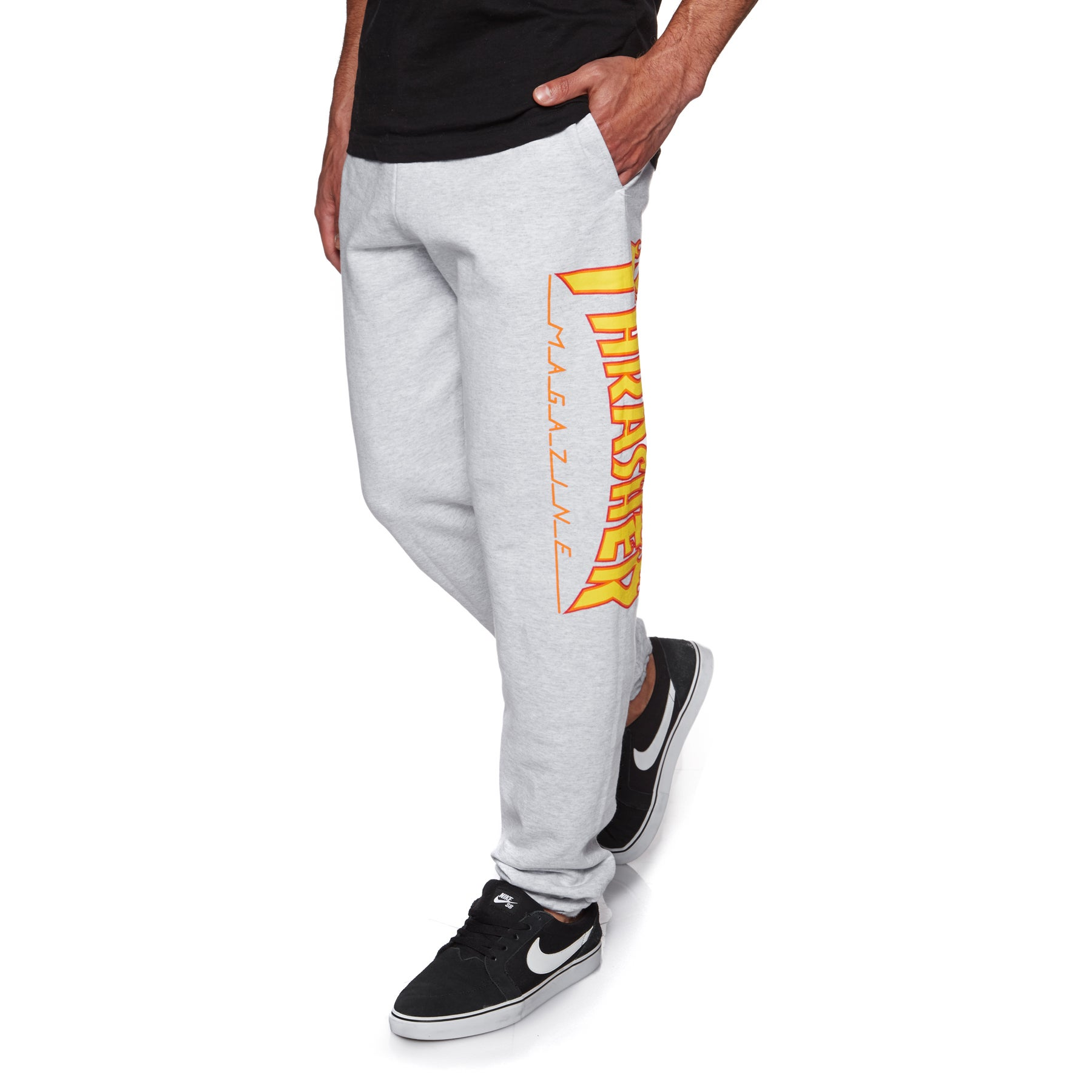 Thrasher Flame Mag Sweat Jogging Pants - Grey