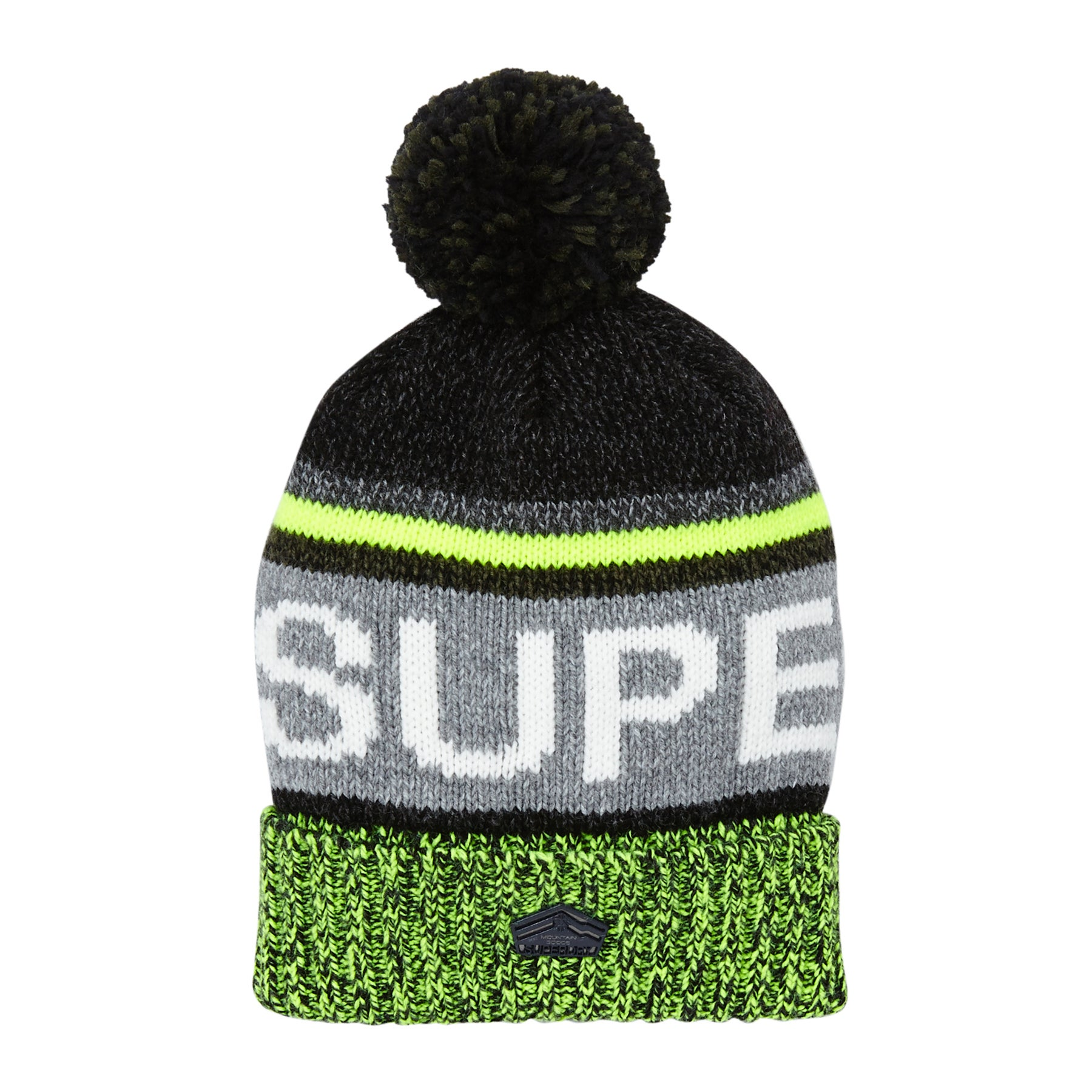 Superdry Super Sd Logo Beanie - Charcoal/lime Mix