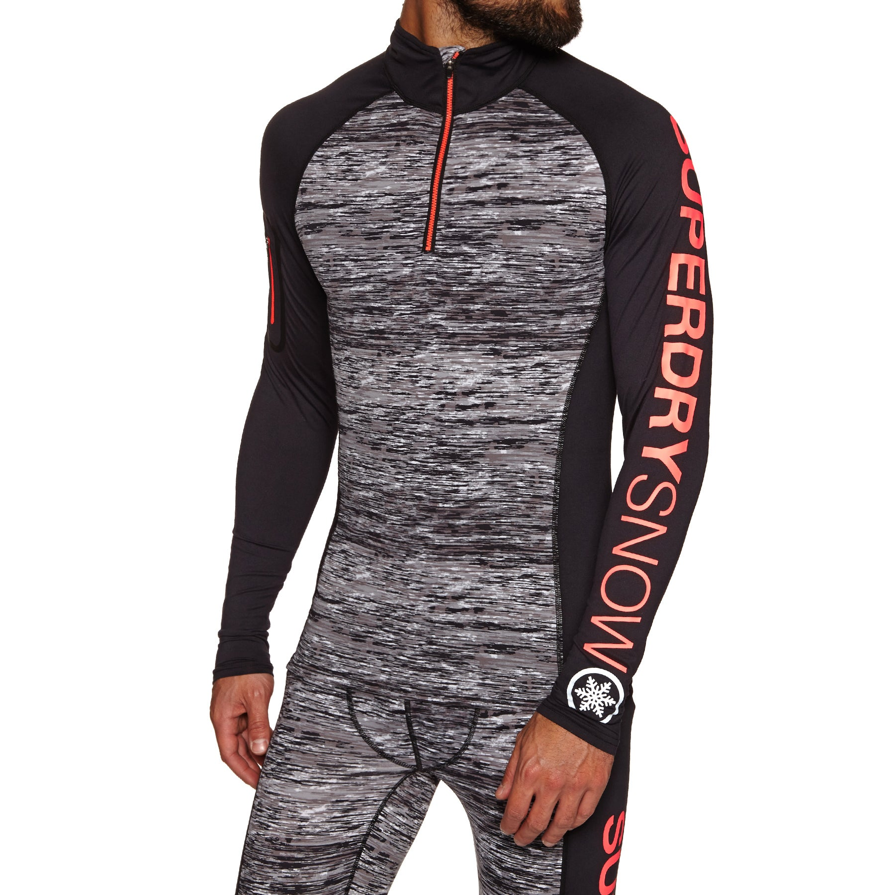 Superdry Carbon Baselayer 1/2 Zip Top Base Layer Top - Carbon Space Dye