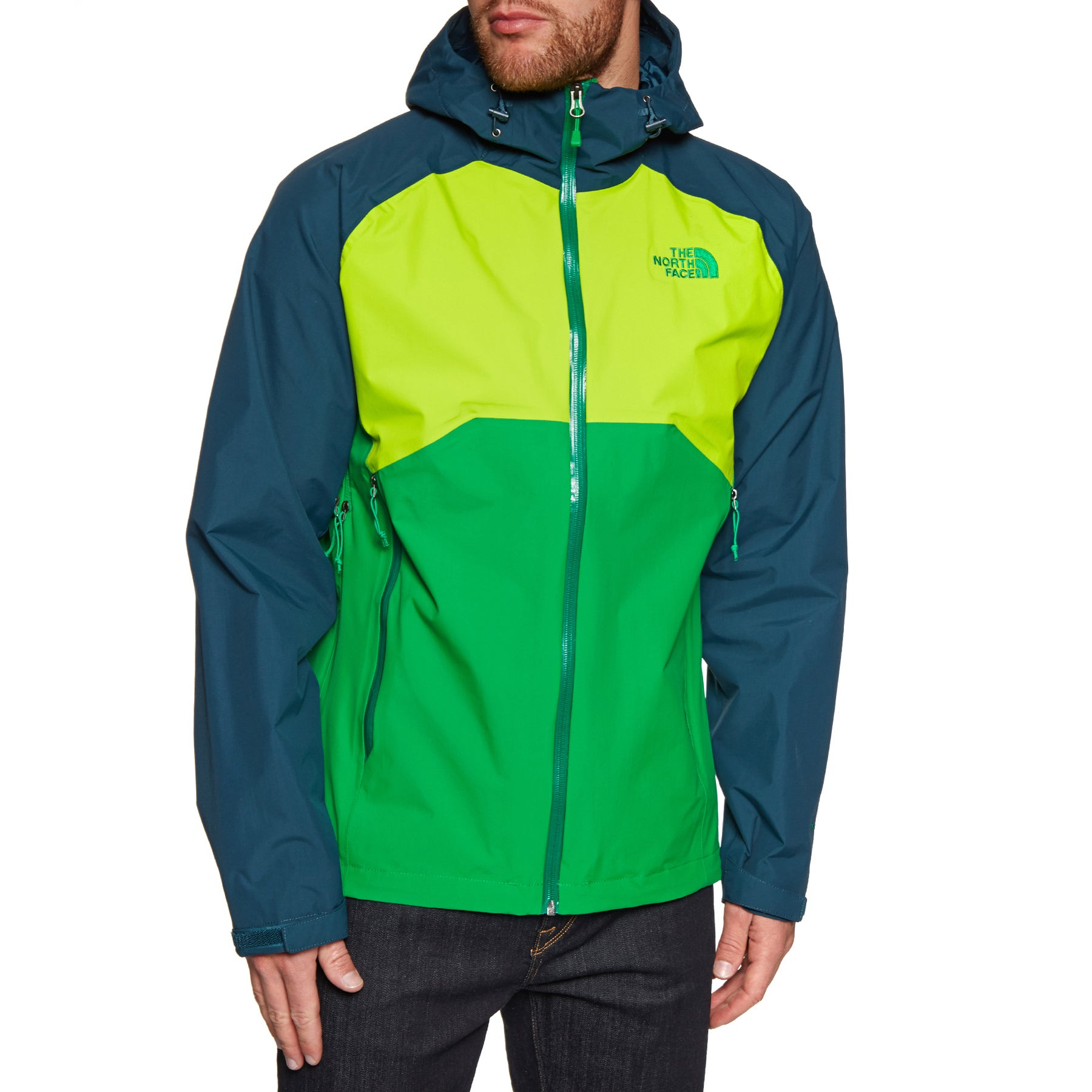 North Face Stratos Jacket - Primary Green Lime Green Kodiak Blue