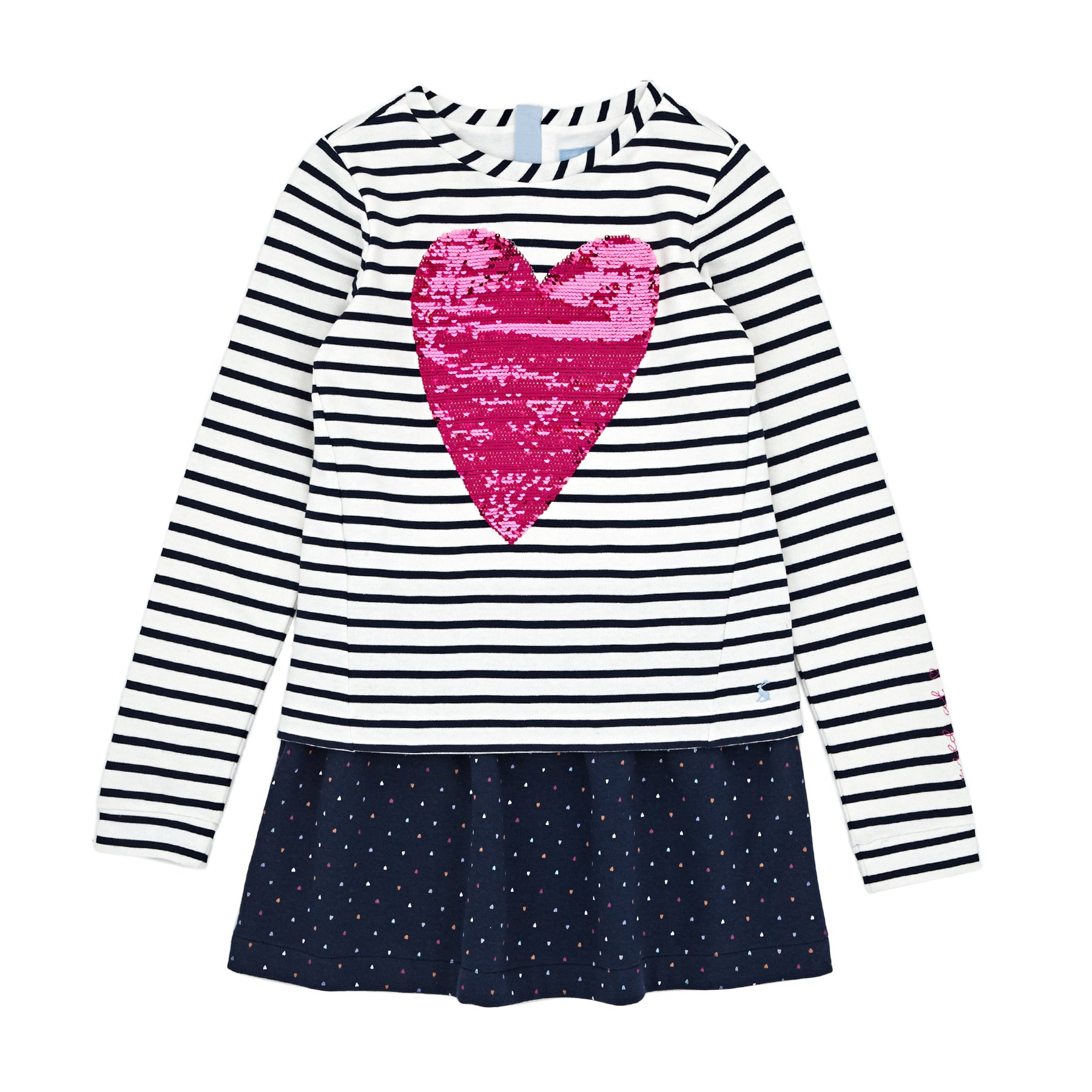 Vestido Girls Joules Lucy Mock Layer - Navy Heart Spot
