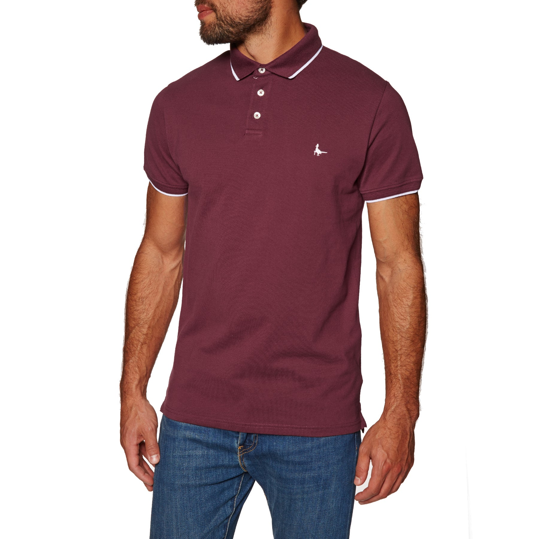 Jack Wills Edgeware Tipped Polo Shirt - Damson