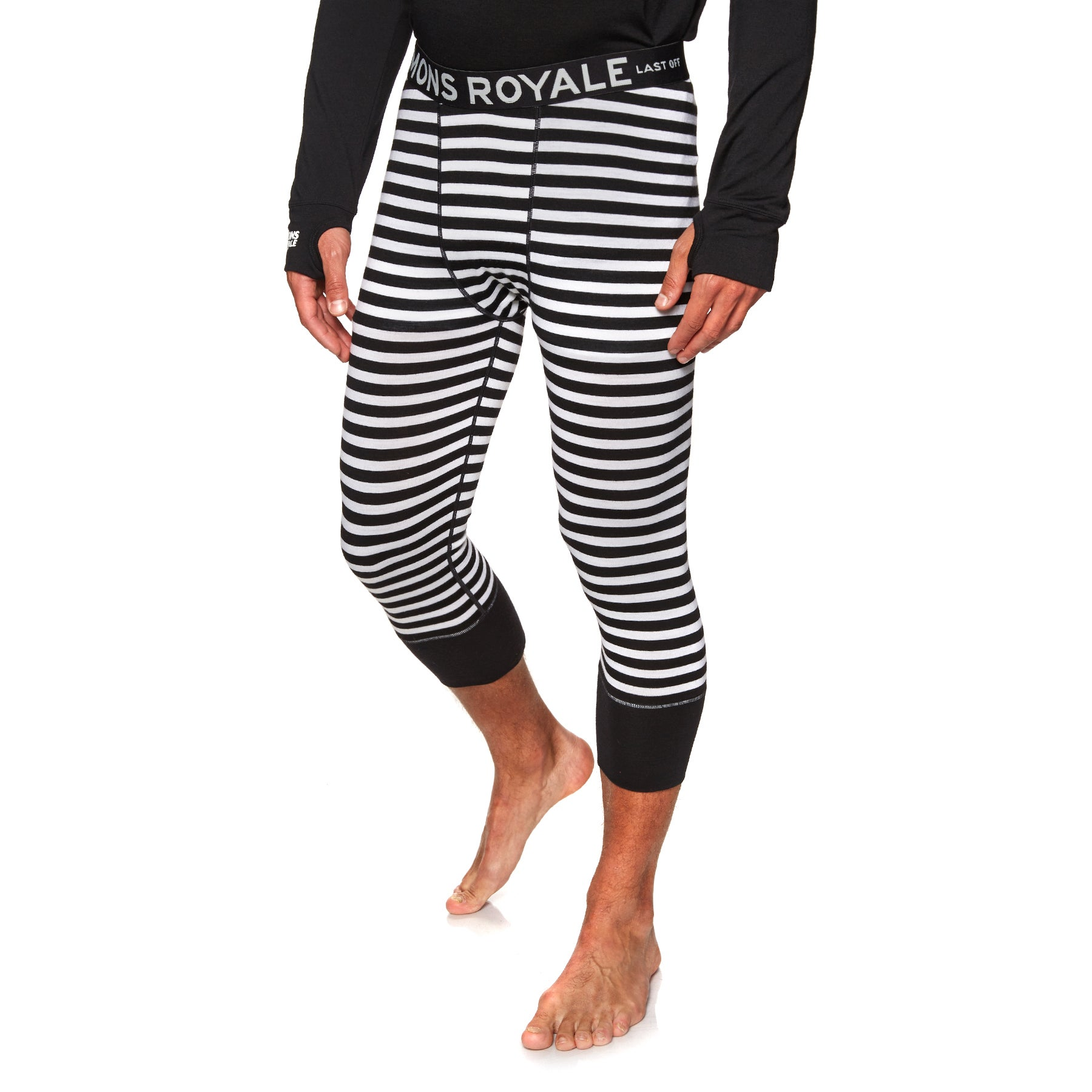 Mons Royale Shaun Cut-off Base Layer Leggings - Thick Stripe