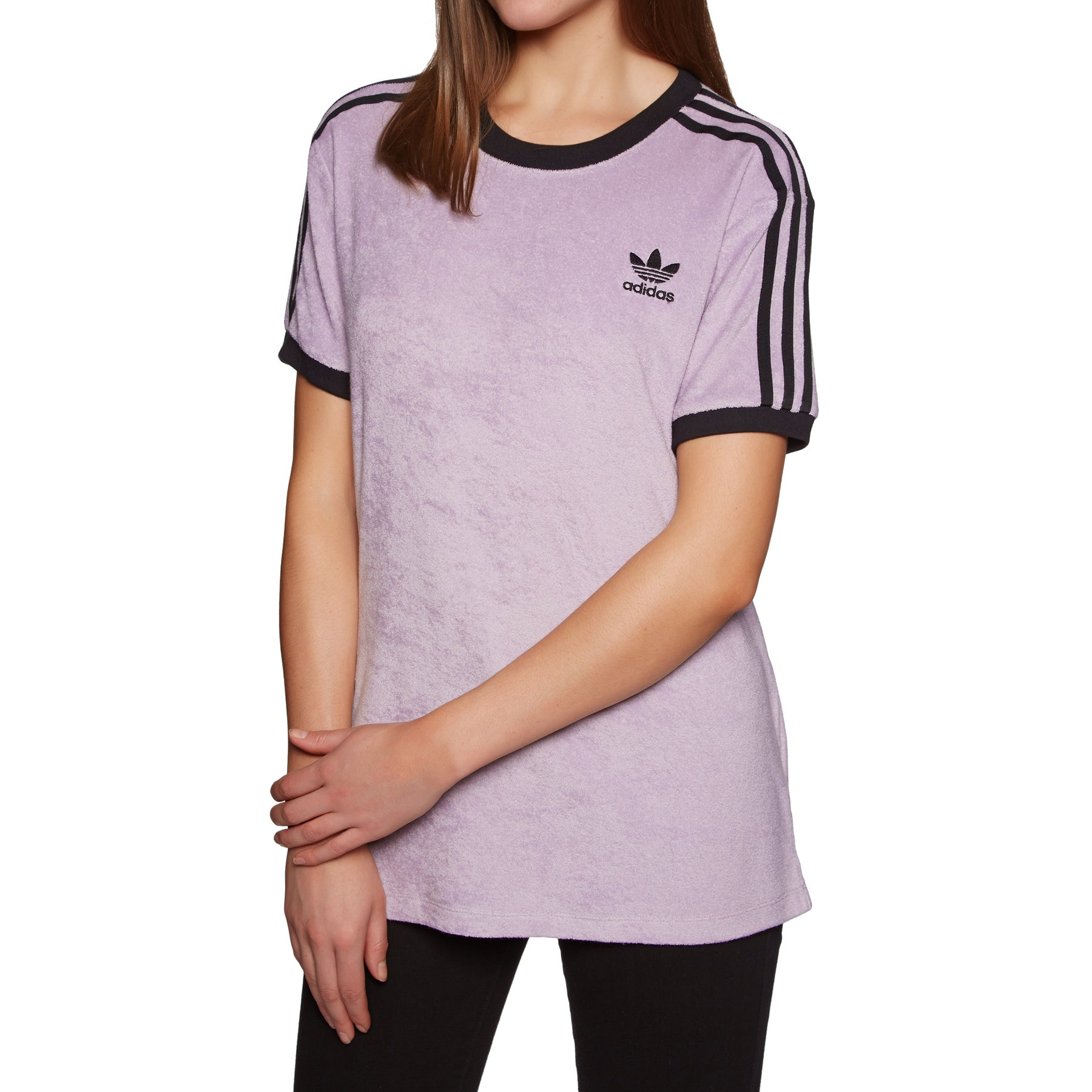 Adidas Originals 3 Stripe Womens Short Sleeve T-Shirt - Soft Vision