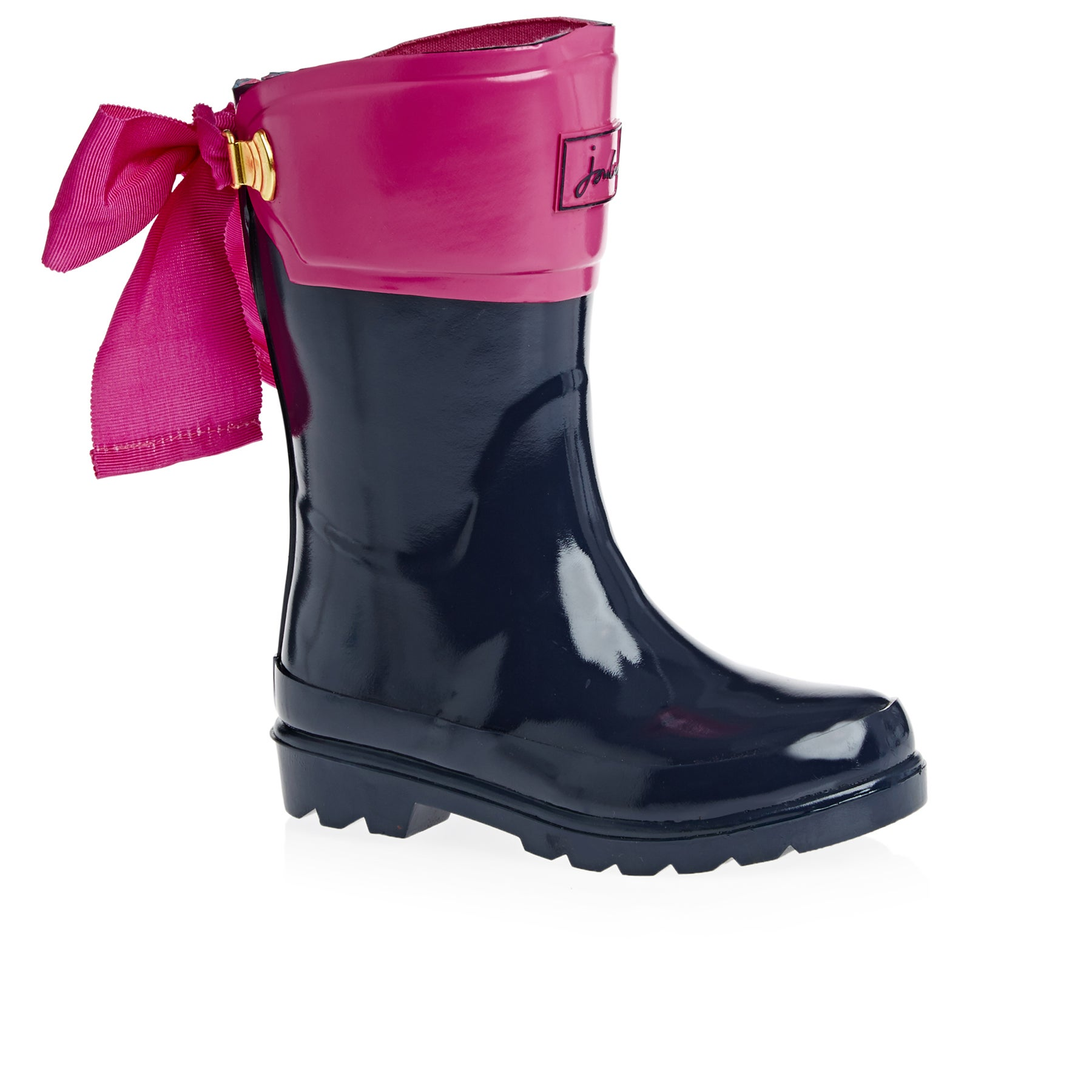 Joules Premium Bow Back Girls Wellies - French Navy