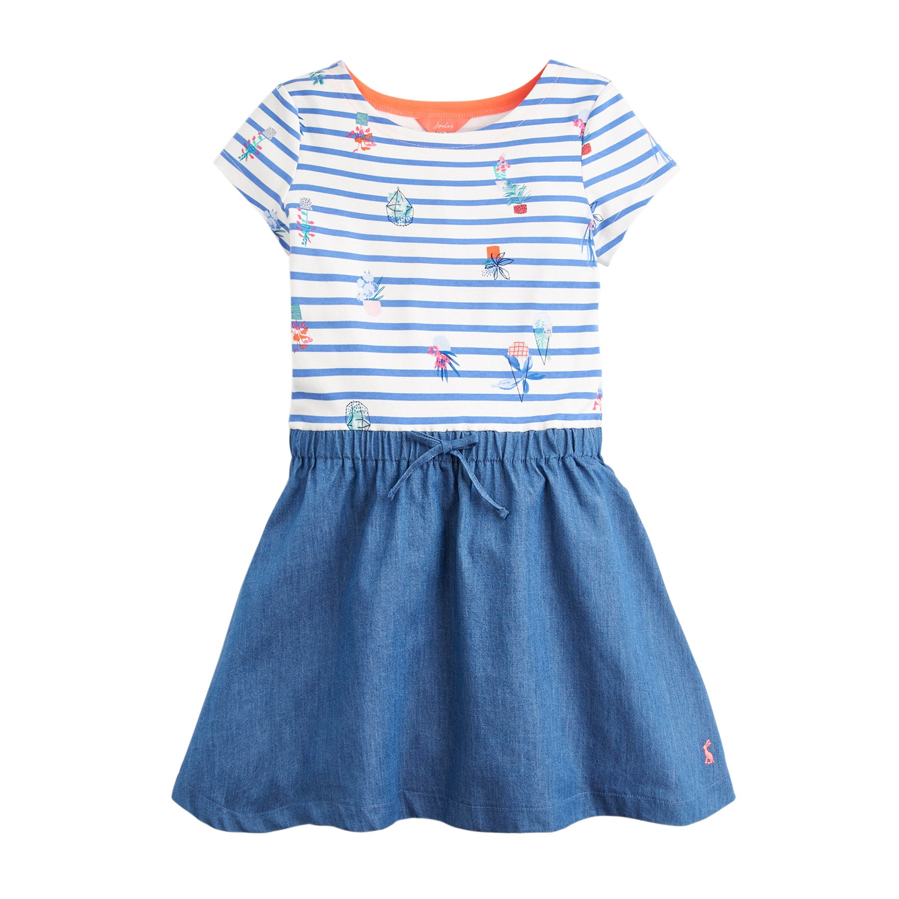 Joules Karolina Girls Dress - Cream Blue Plant Stripe