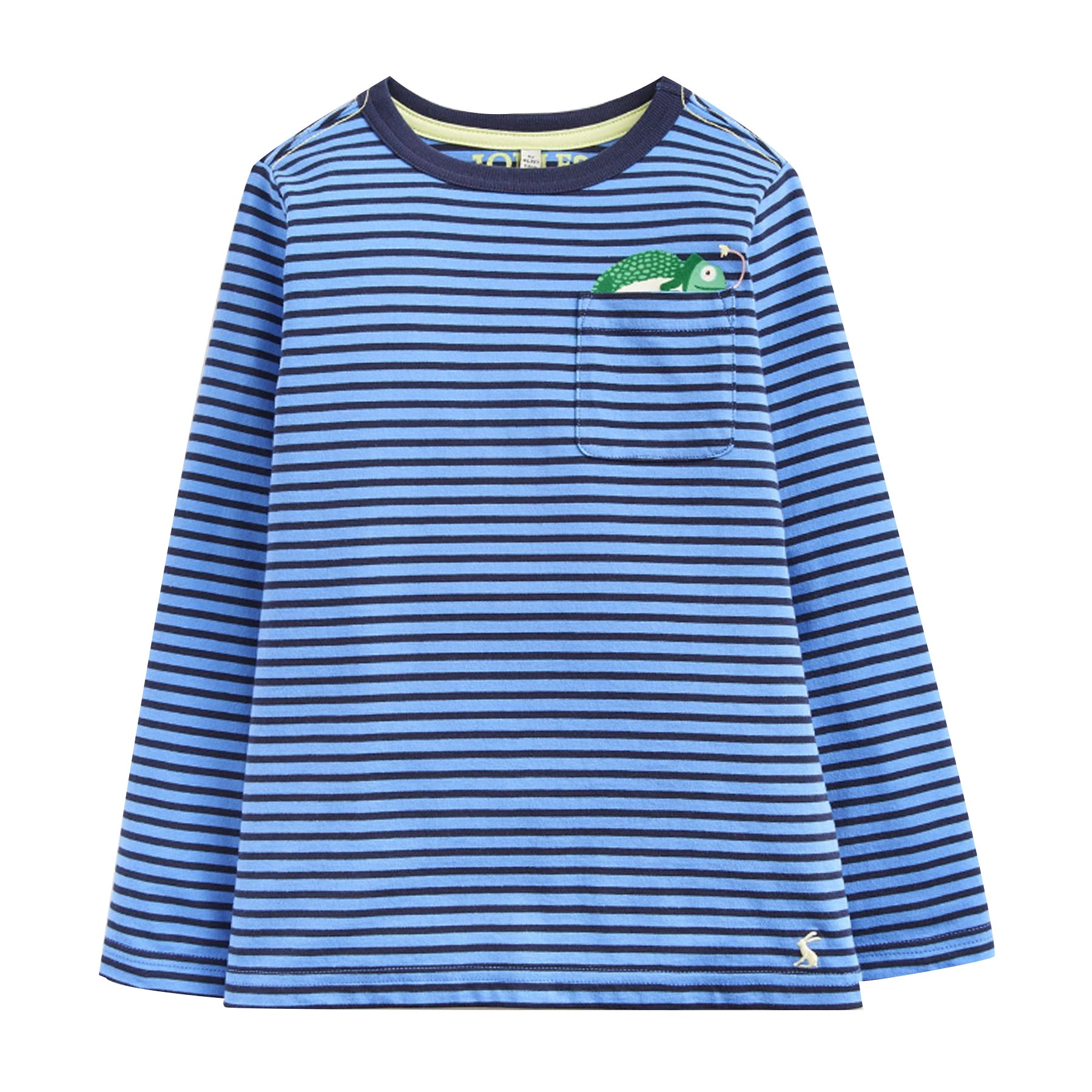 Joules Winston Boys Long Sleeve T-Shirt - Blue Stripe Chameleon Pocket