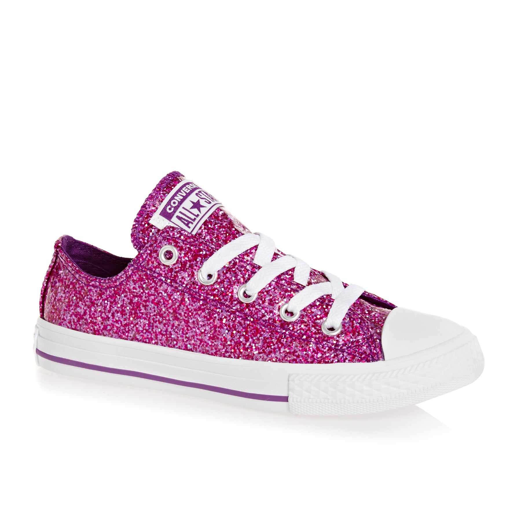 Converse Chuck Taylor Glitter All Stars OX Girls Shoes - Icon Violet White White