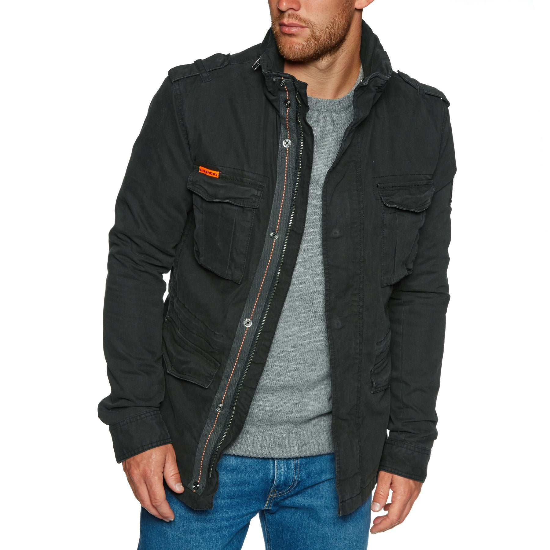 Superdry Classic Rookie Military Parka Jacket - Bitter Black