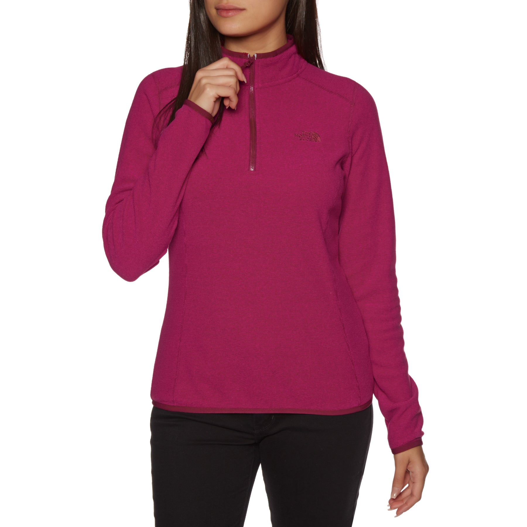 North Face 100 Glacier Quarter Zip Womens Fleece - Rumba Red Cerise Pink Stripe