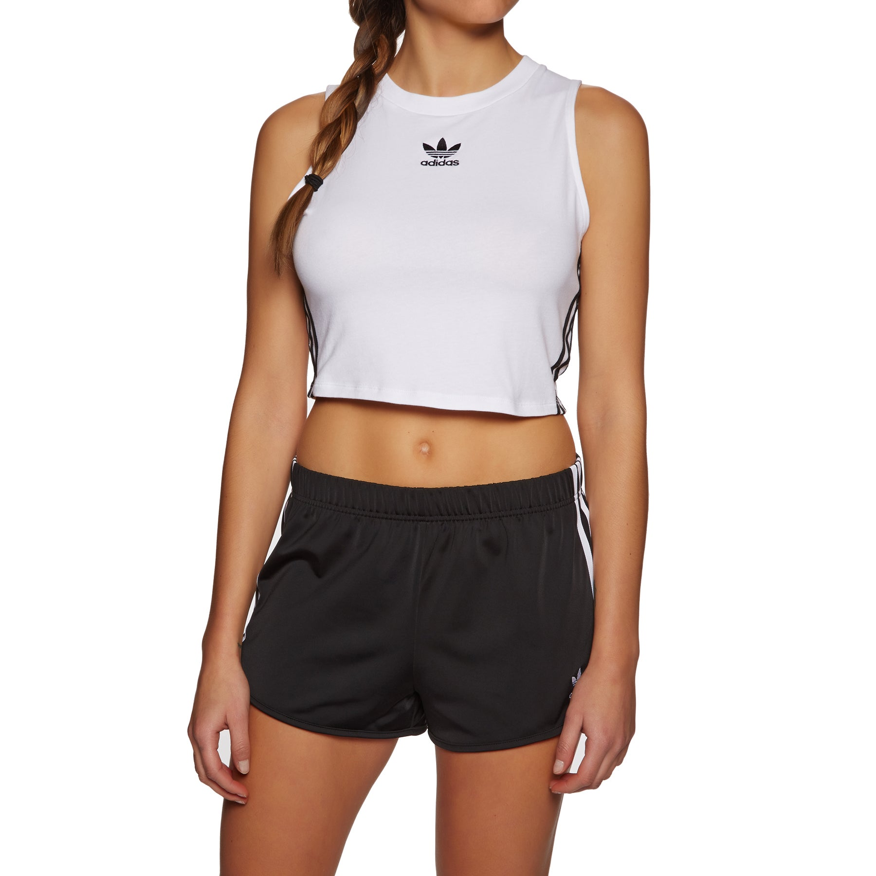 Adidas Originals Crop Womens Tank Vest - White Black
