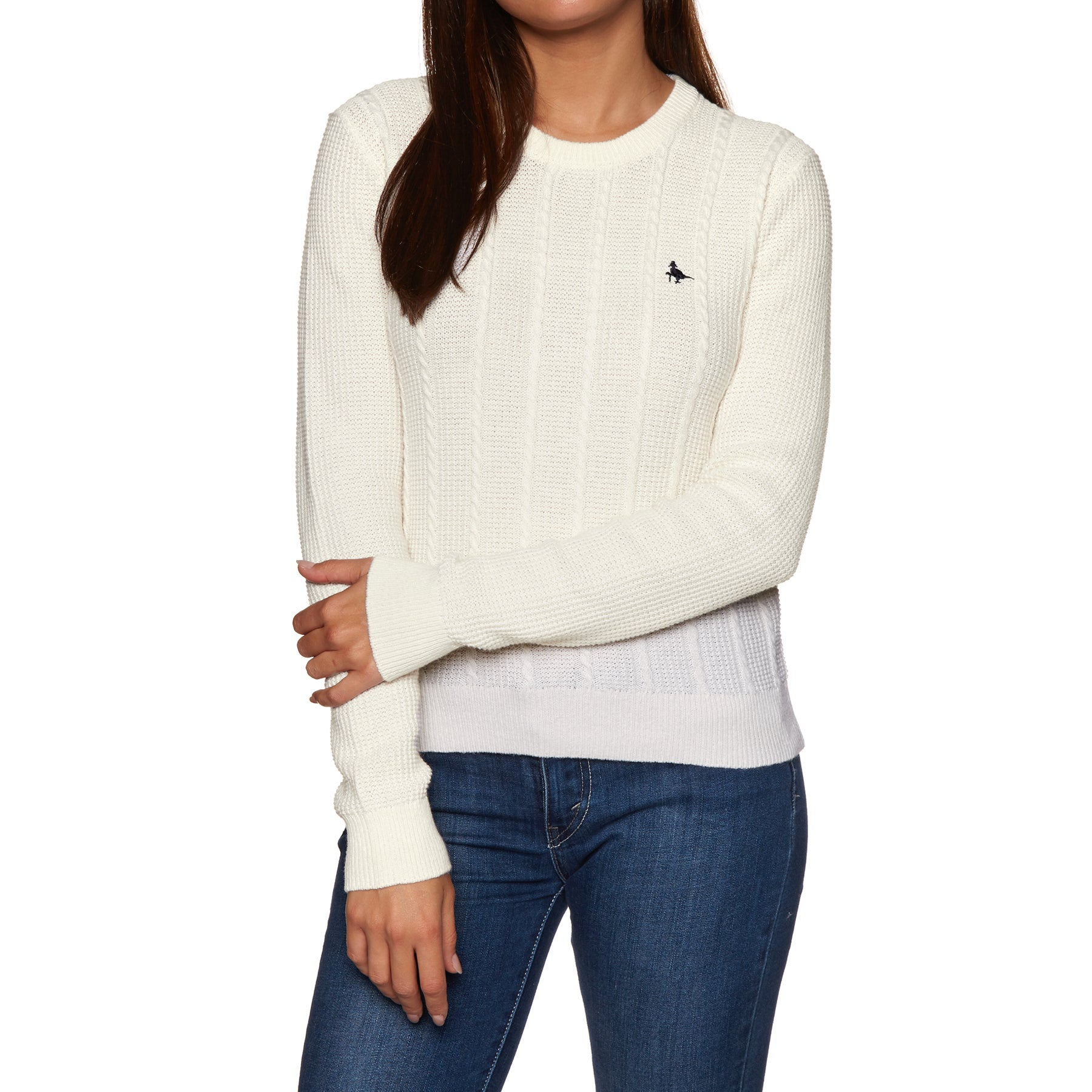 Sweat Femme Jack Wills Tinsbury Cable Crew - Vintage White