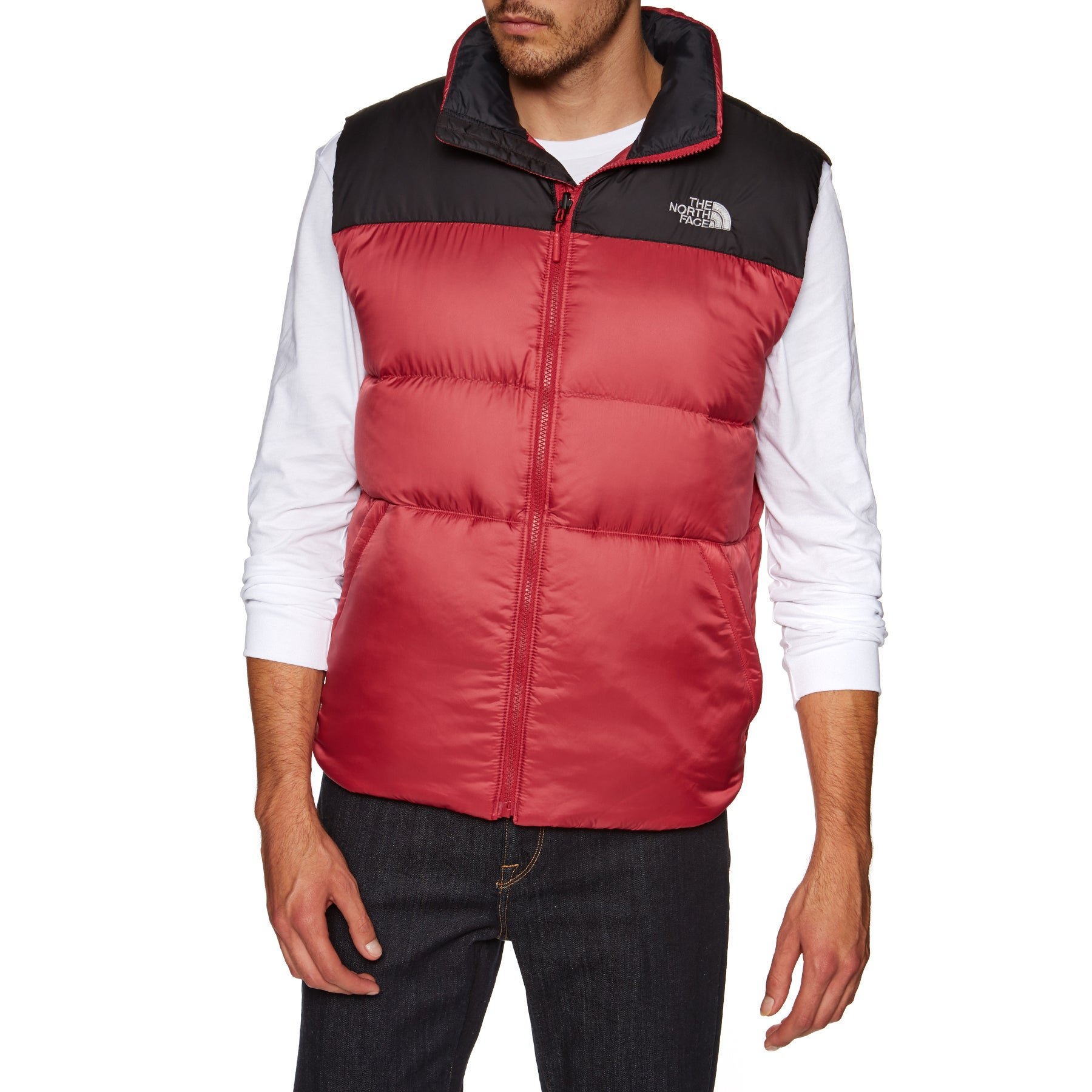 North Face Nuptse III Body Warmer - Rage Red TNF Black