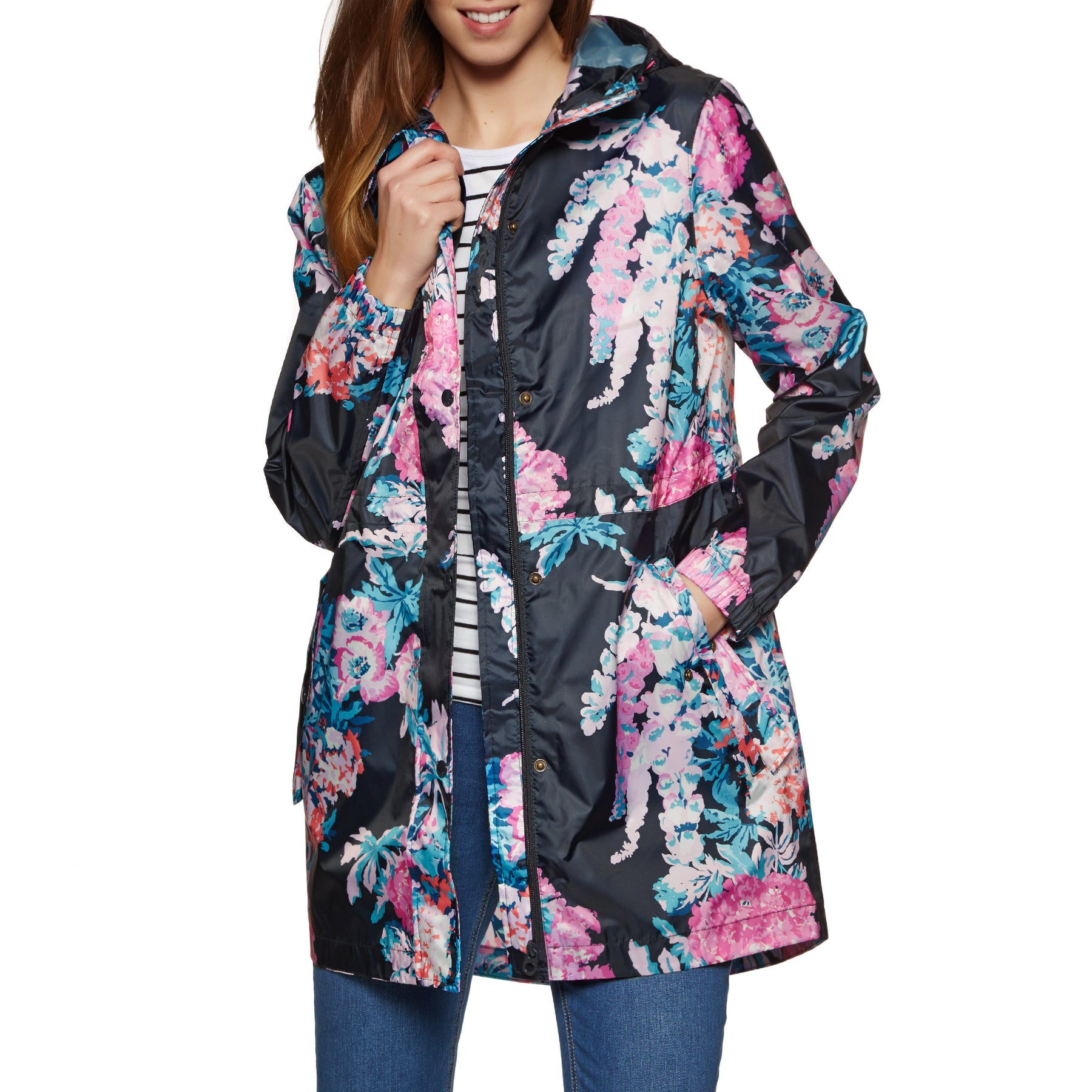 Joules Golightly Packaway Womens Jacket - Navy Cottage Floral