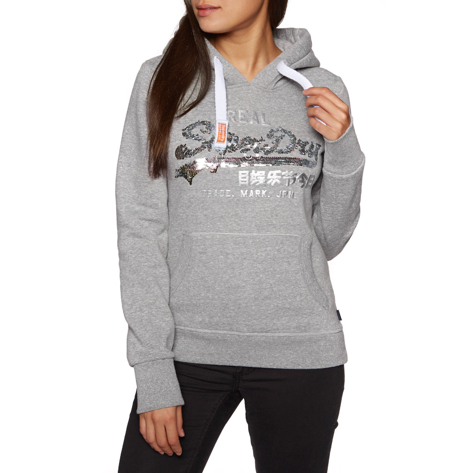 Superdry Vintage Logo Sequin Entry Womens Pullover Hoody - Grey Heathered