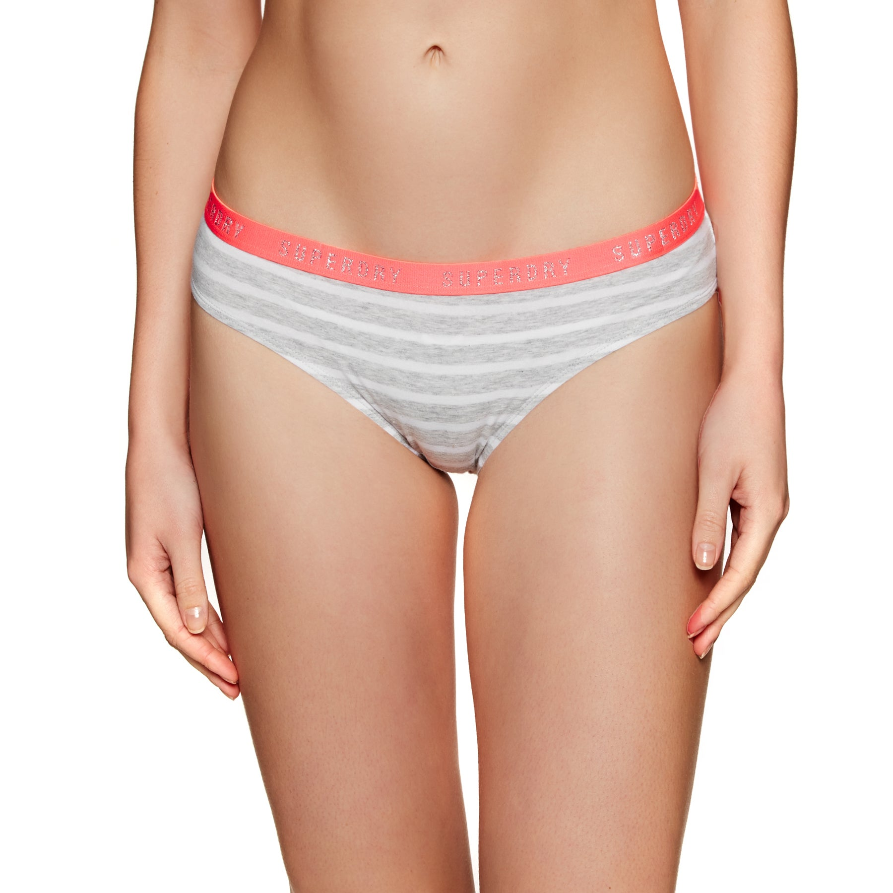 Culotte Femme Superdry College Brief Double Pack - Coral Tropical Grey Marl Stripe
