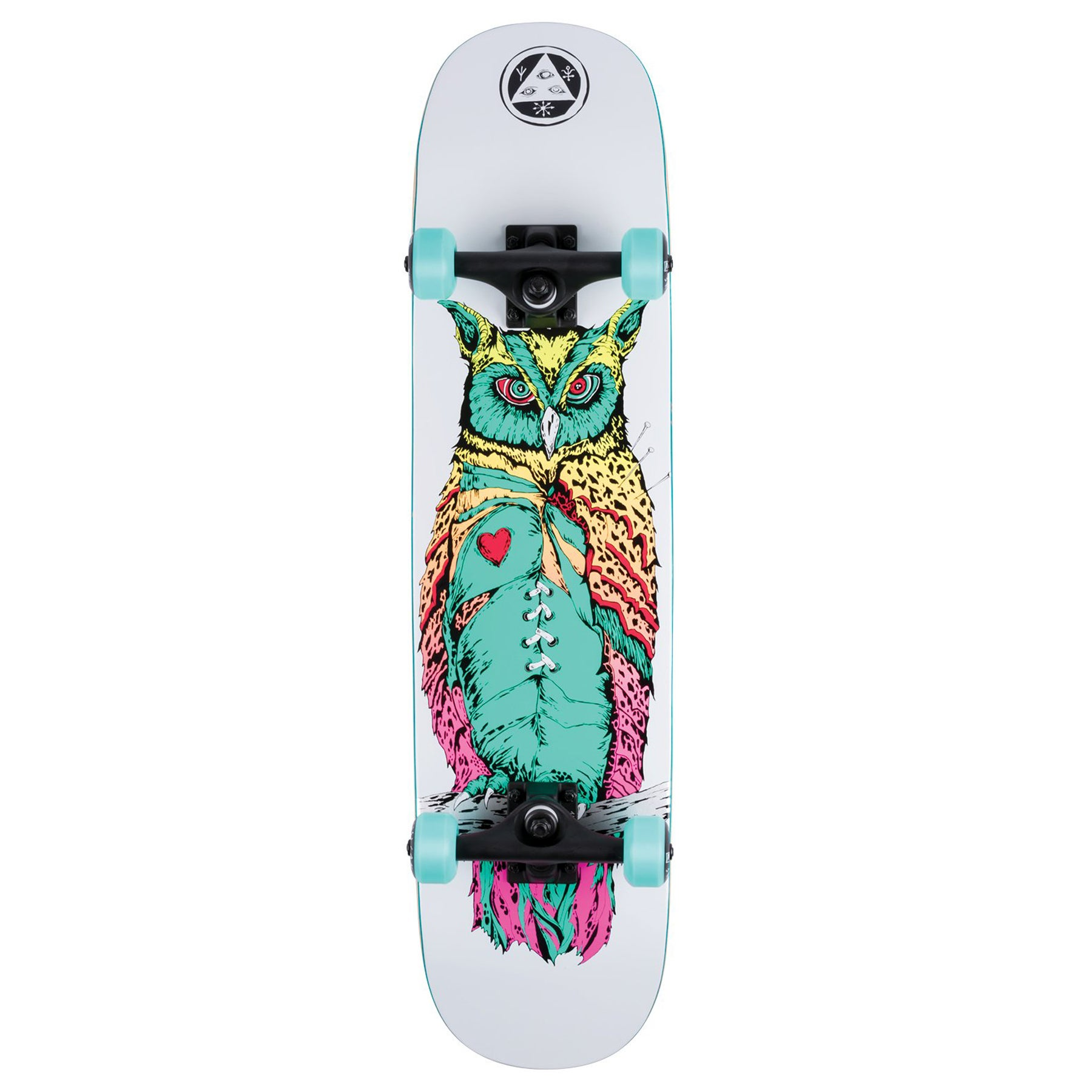 Welcome Heartwise On Scaled Down Amulet 7.75 Inch Complete Skateboard Skateboard - White Surf Fade