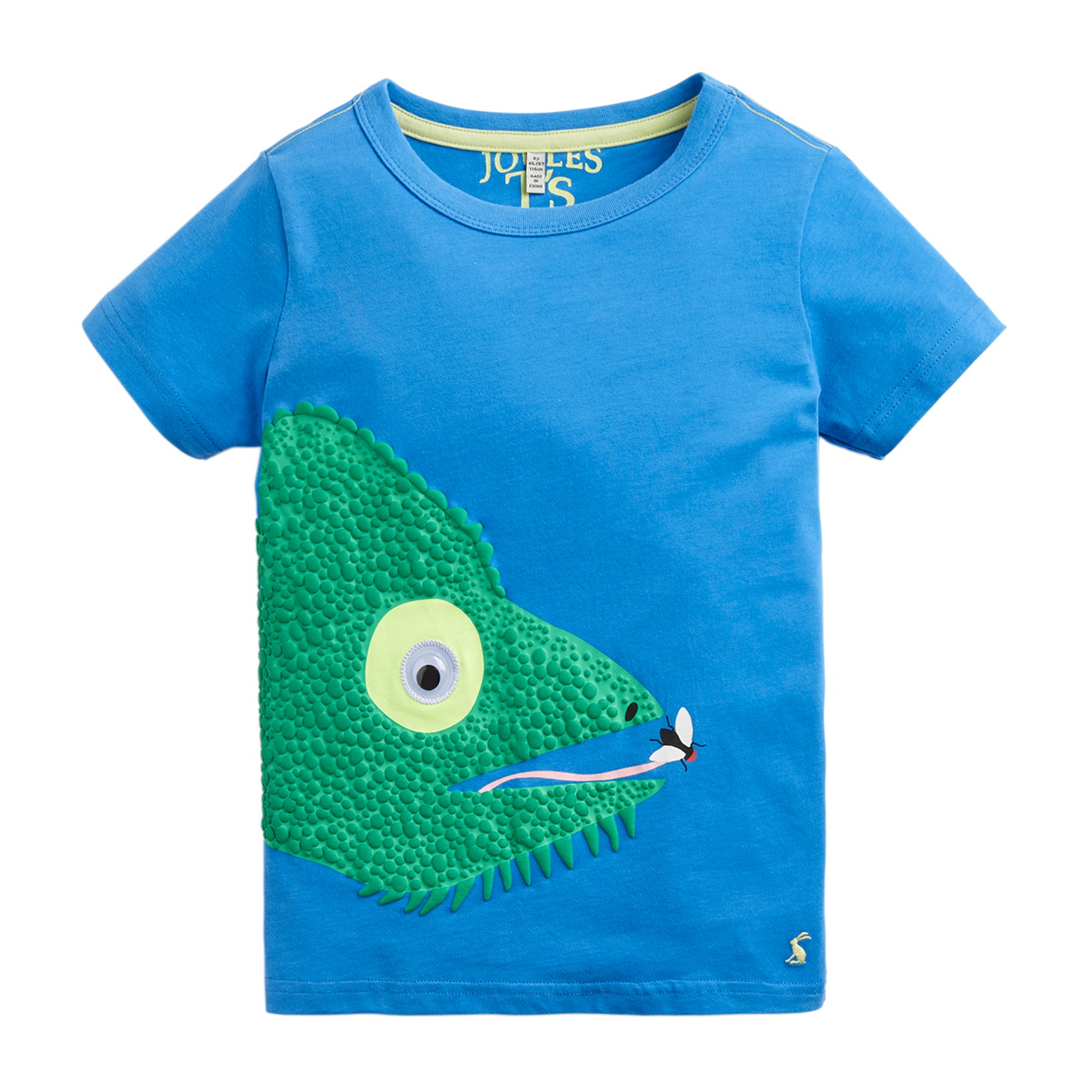 Joules Archie Applique Boys Short Sleeve T-Shirt - Blue Chameleon