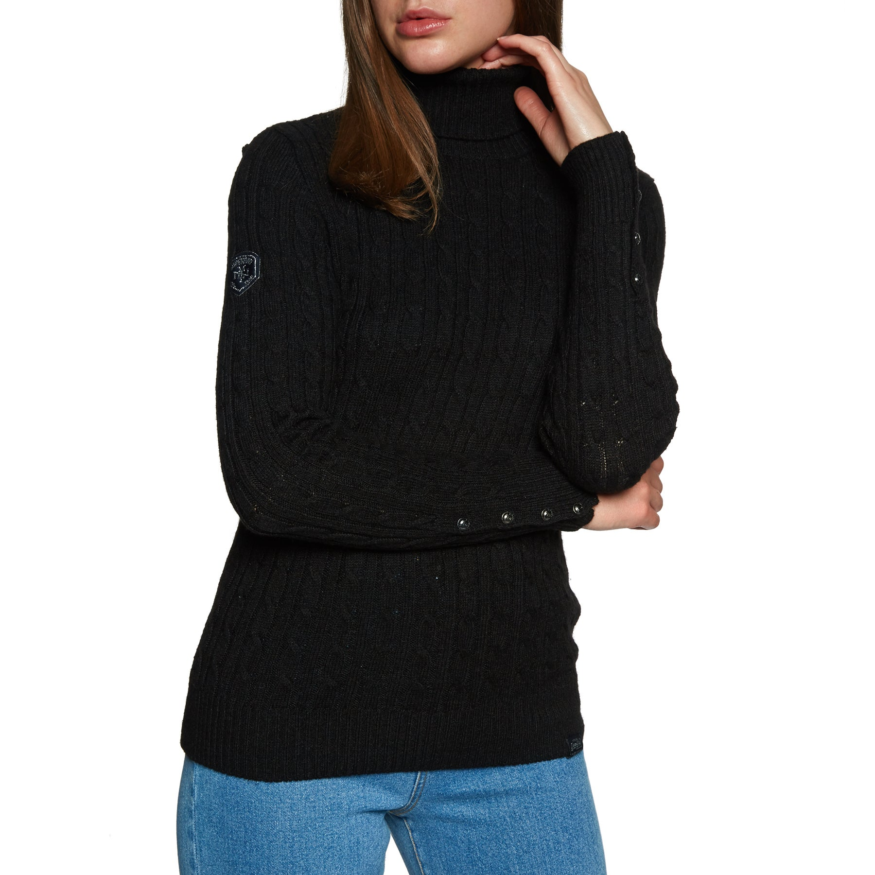 Superdry Croyde Roll Neck Cable Knit Womens Knits - Black