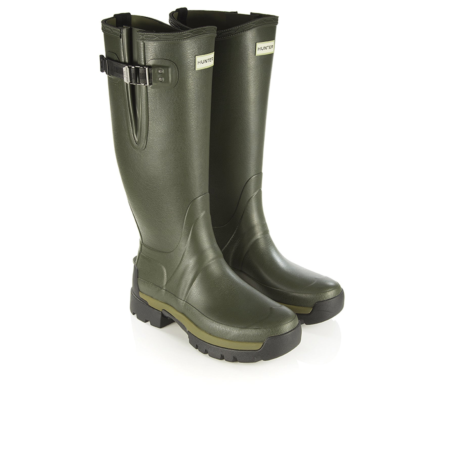 Bottes en Caoutchouc Hunter Balmoral Side Adj 3mm Neoprene - Dark Olive