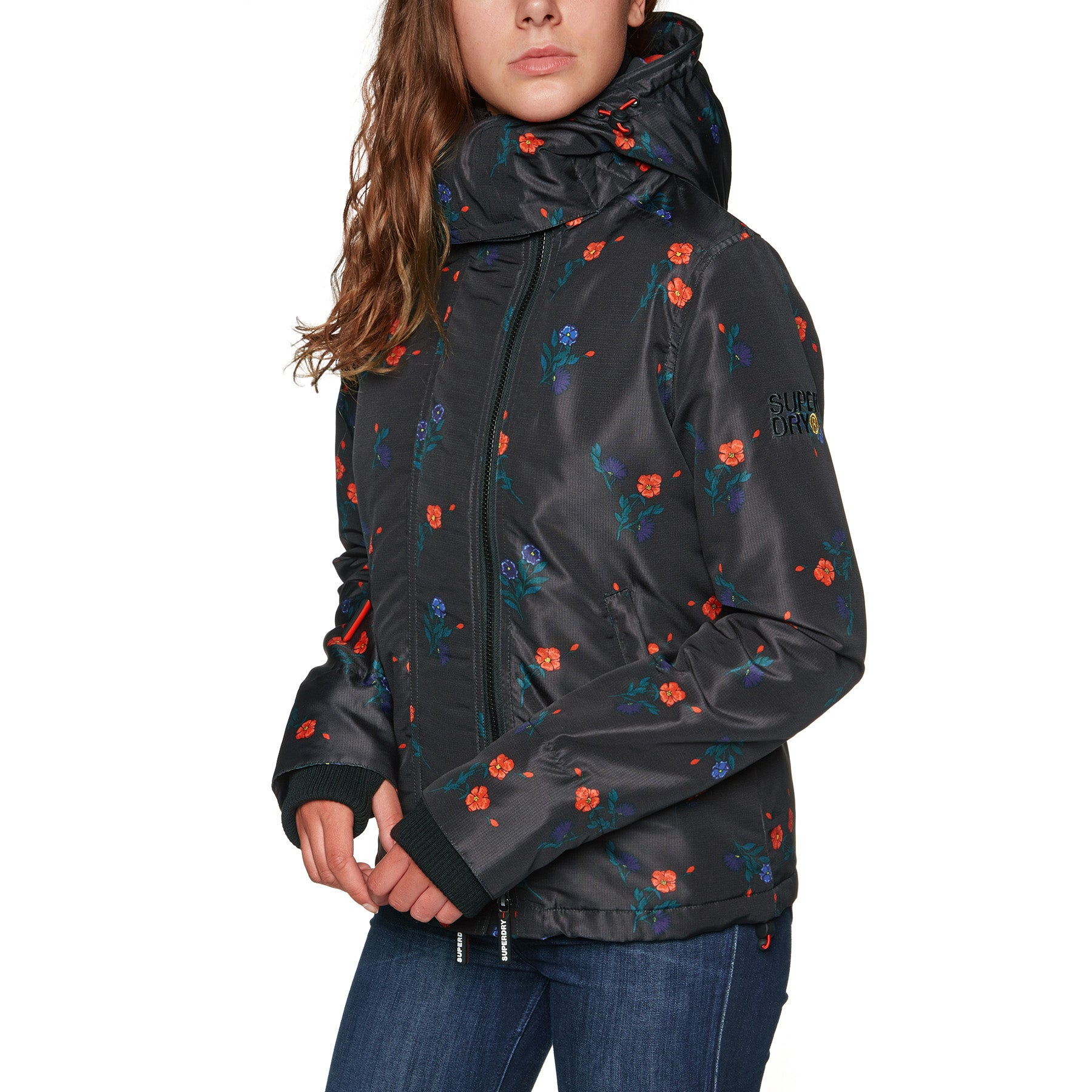 Superdry Cny Hooded Sd Windcheater Womens Jacket - Black Floral Print