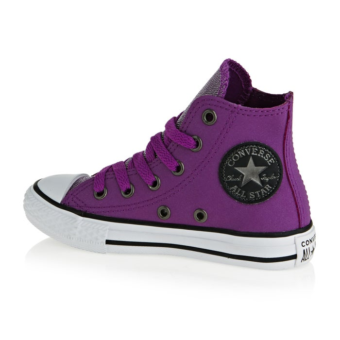 1ca3ac6e2388c2 Converse Chuck Taylor All Star Youth Classic Hi Glitter Leather Girls Shoes