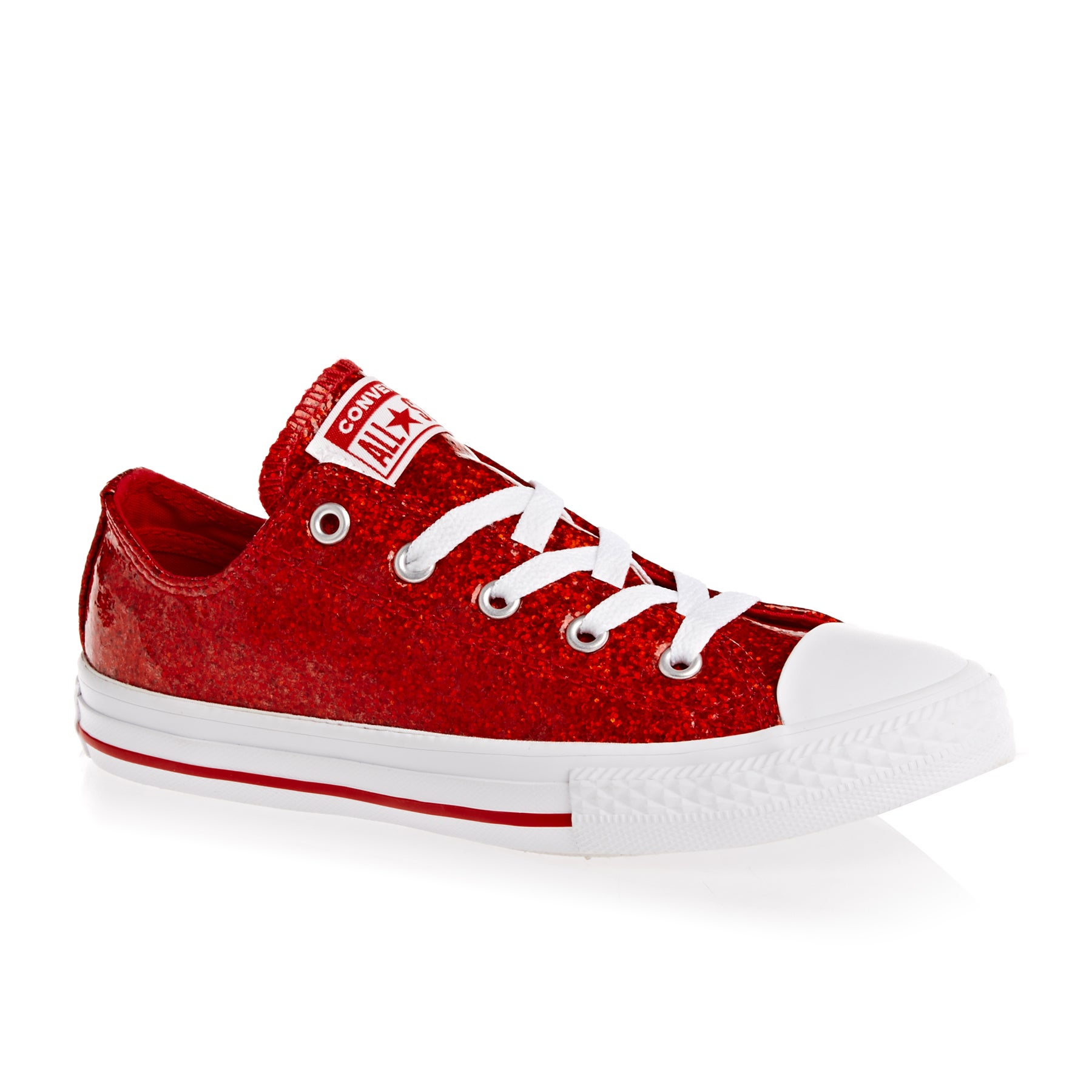 Converse Chuck Taylor Glitter All Stars OX Girls Shoes - Cherry Red White White