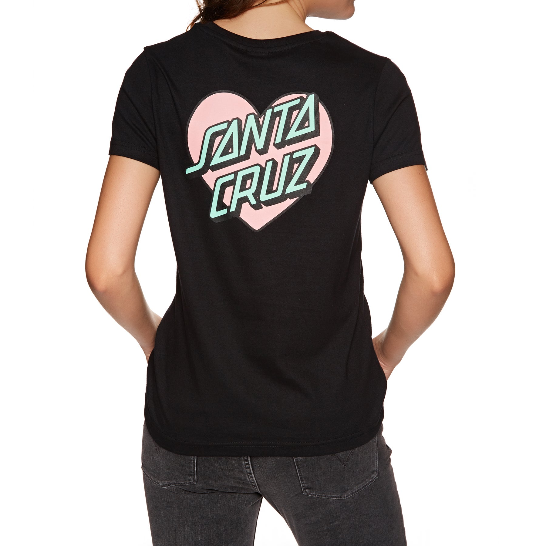 Santa Cruz Heart Dot Womens Short Sleeve T-Shirt - Black